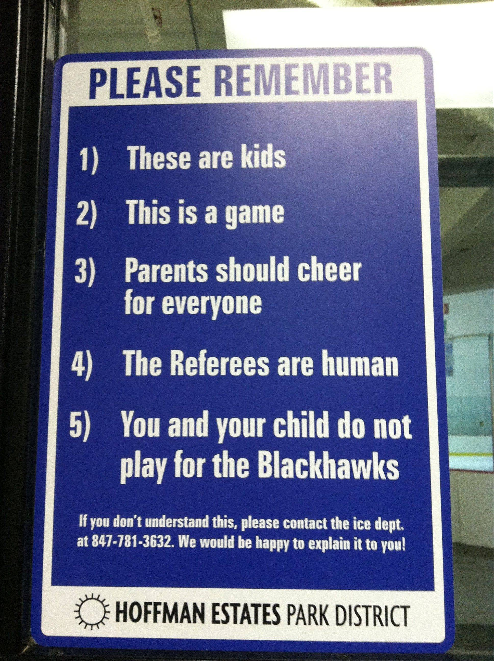 The Hoffman Estates Park District is getting a lot of attention for this sign, which was posted outside its ice rinks to remind parents about good sportsmanship.