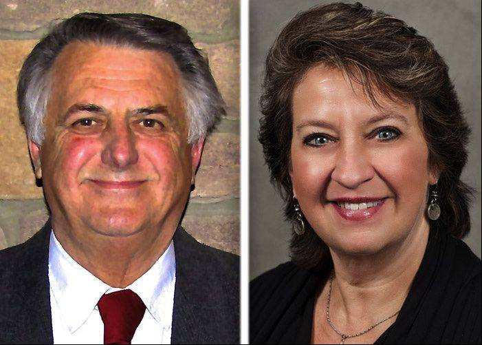Charles Amrich, left, and Debbie Herrmann are running for mayor in Island Lake.