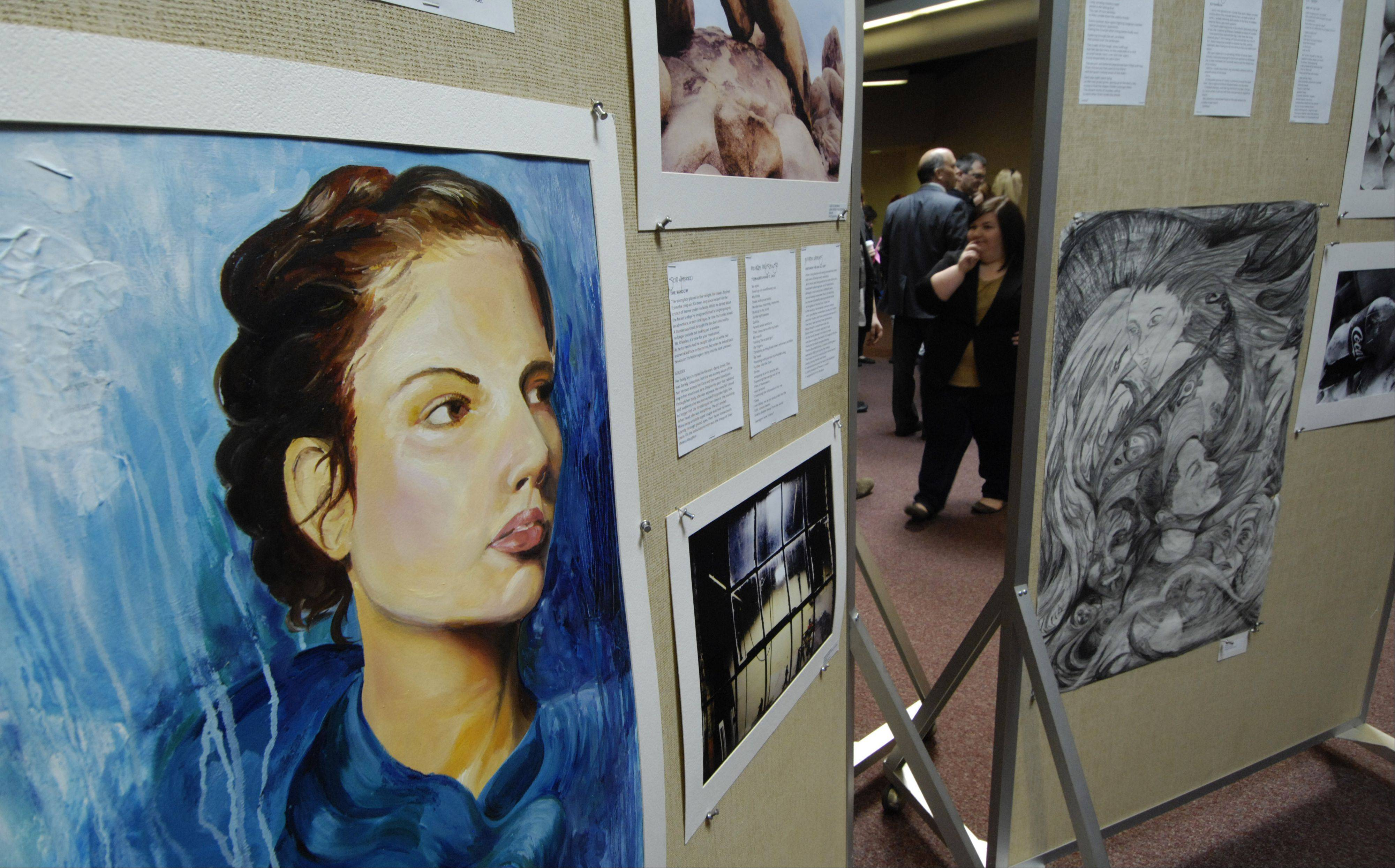 Award-winning art is displayed at a past reception. This year�s reception and awards ceremony will be held April 10 at the Forest View Educational Center.