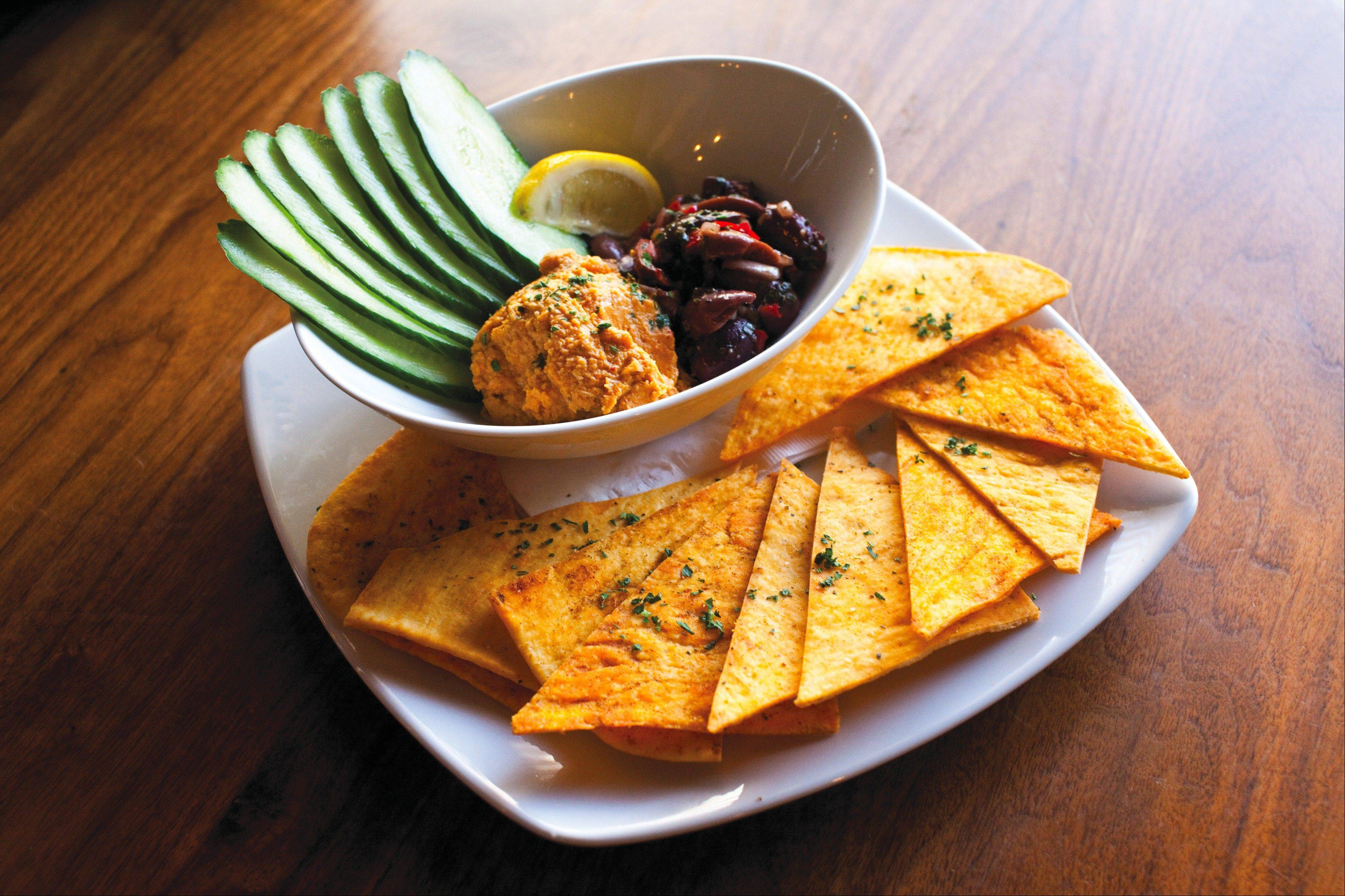 Roasted red pepper hummus is among the appetizer options at Park Tavern in Rosemont.