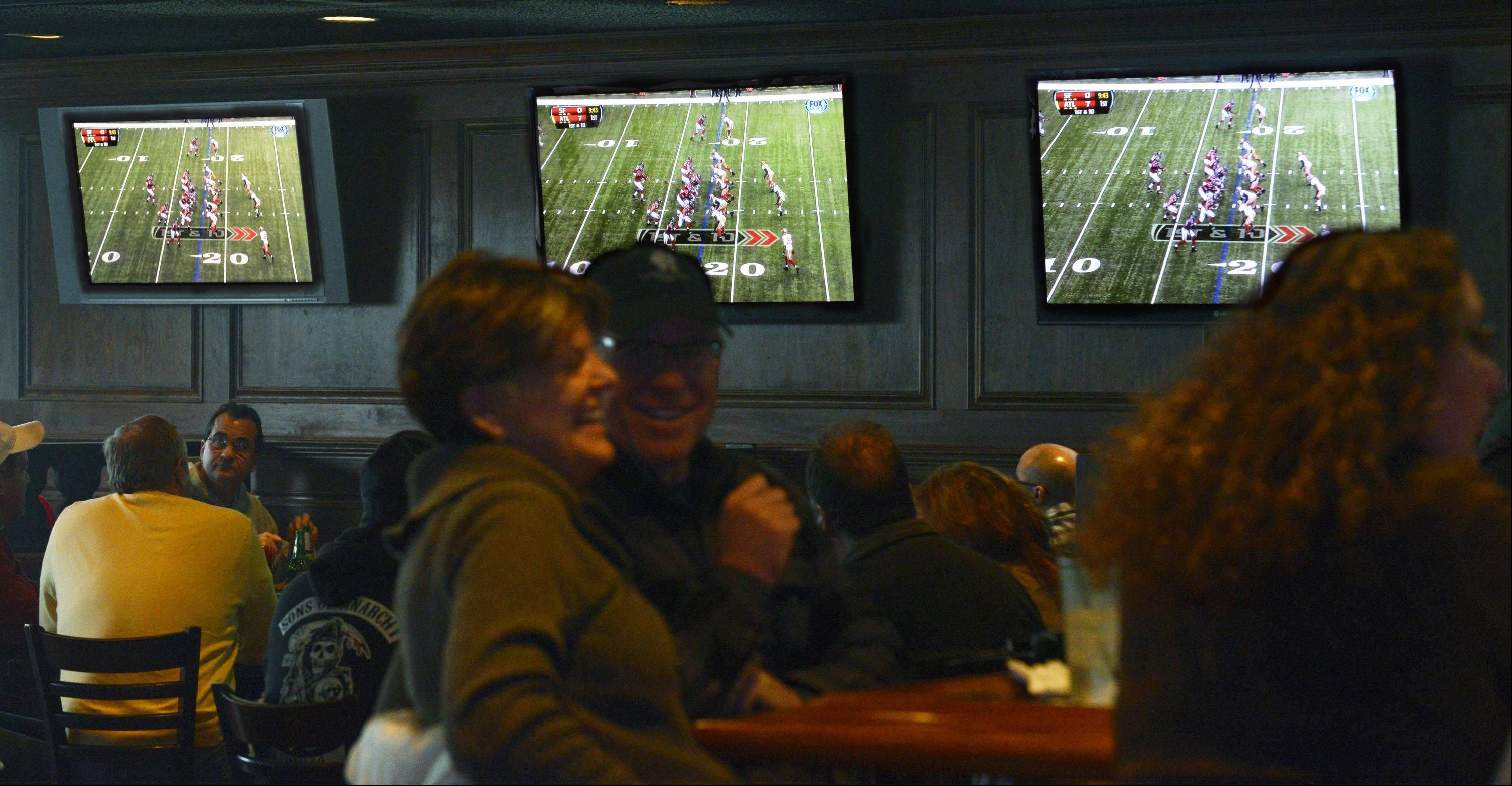 Sports fans can catch the Super Bowl on the dozens of big-screen TVs at Rookies in St. Charles.