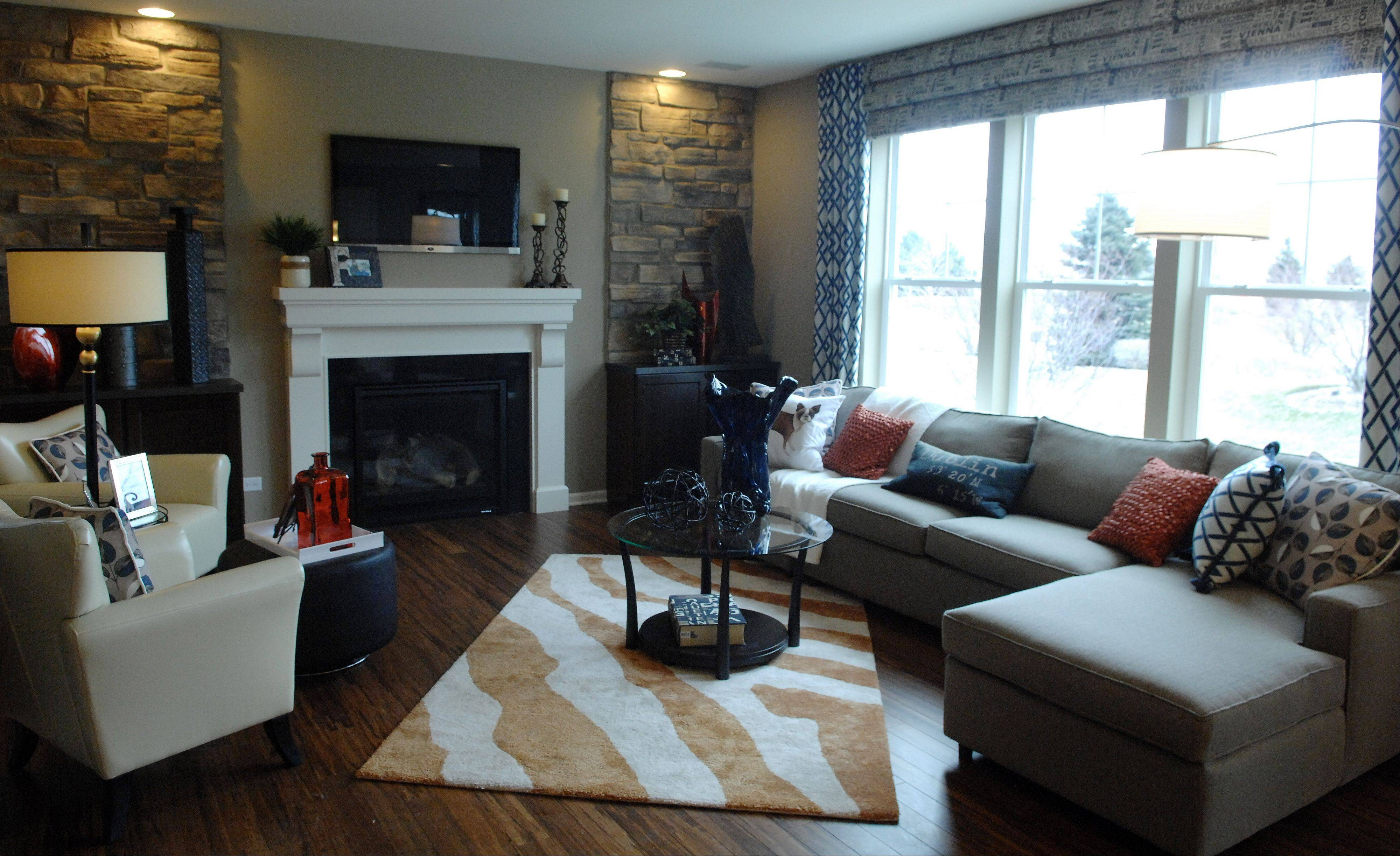 The living room of the Cascade model at Cambridge Lakes in Pingree Grove.