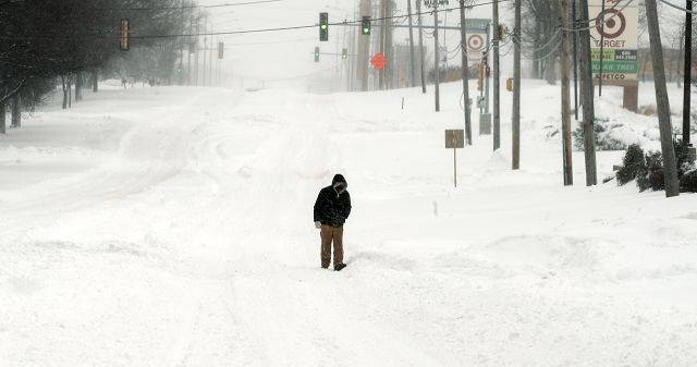 Dundee road in Palatine is void of traffic in the early morning of the blizzard of 2011.