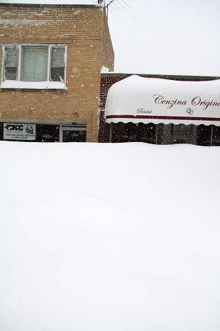 Snow is piled up in Glenview Wednesday.