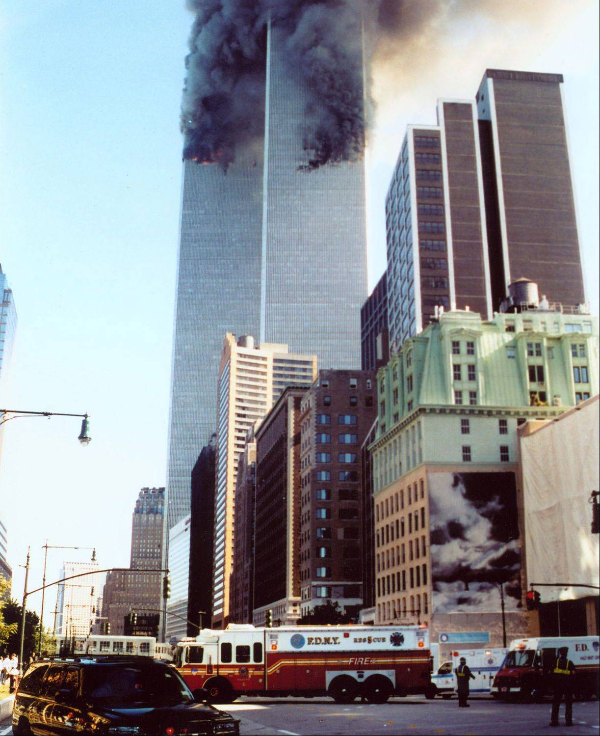 FDNY Rescue 5 comes out of the tunnel from Staten Island as it heads toward the World Trade Center towers in New York City on Sept. 11, 2001.