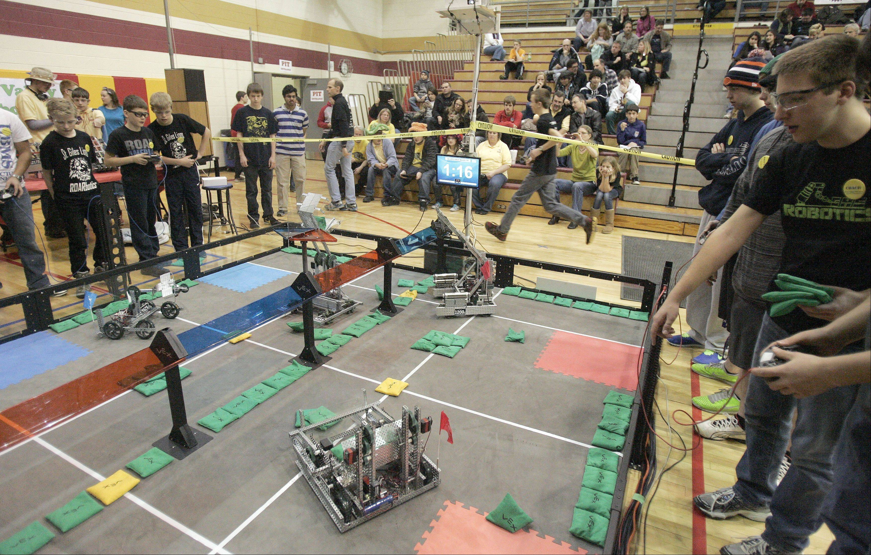 Brian Hill/bhill@dailyherald.comMore than 400 leading middle schools and high schools participated in the VEX Robotics contest at Rotolo Middle School in Batavia Saturday. The competition included 48 teams from the Midwest.