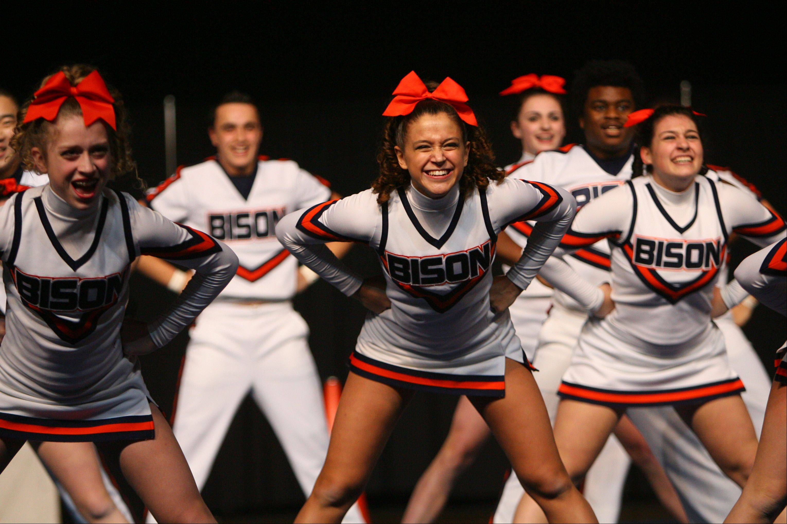 Buffalo Grove High School's coed team posted the highest score in Friday's prelims at the state cheerleading competition in Bloomington.