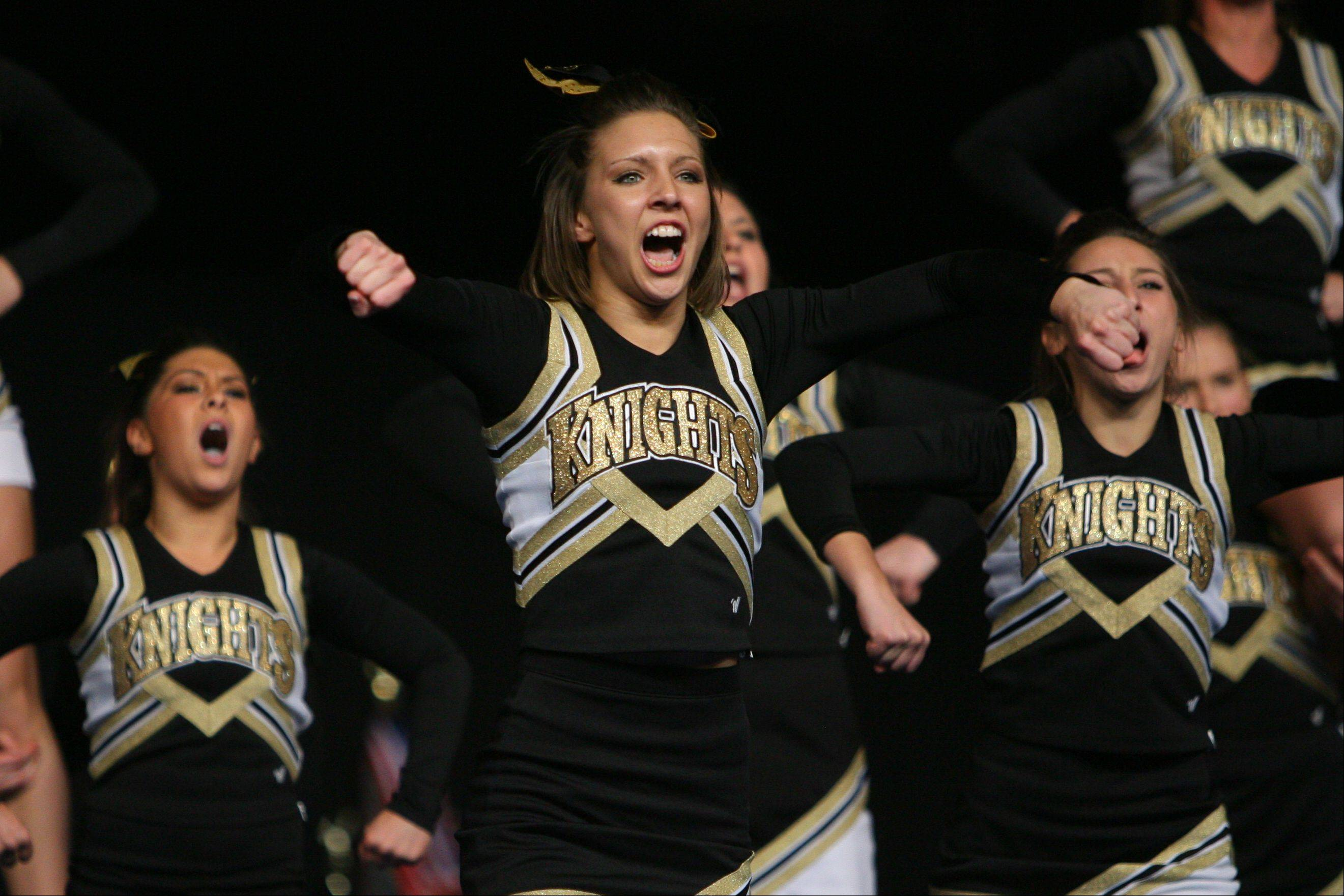 Grayslake North High School competes in the competitive cheerleading state championships Friday in Bloomington.