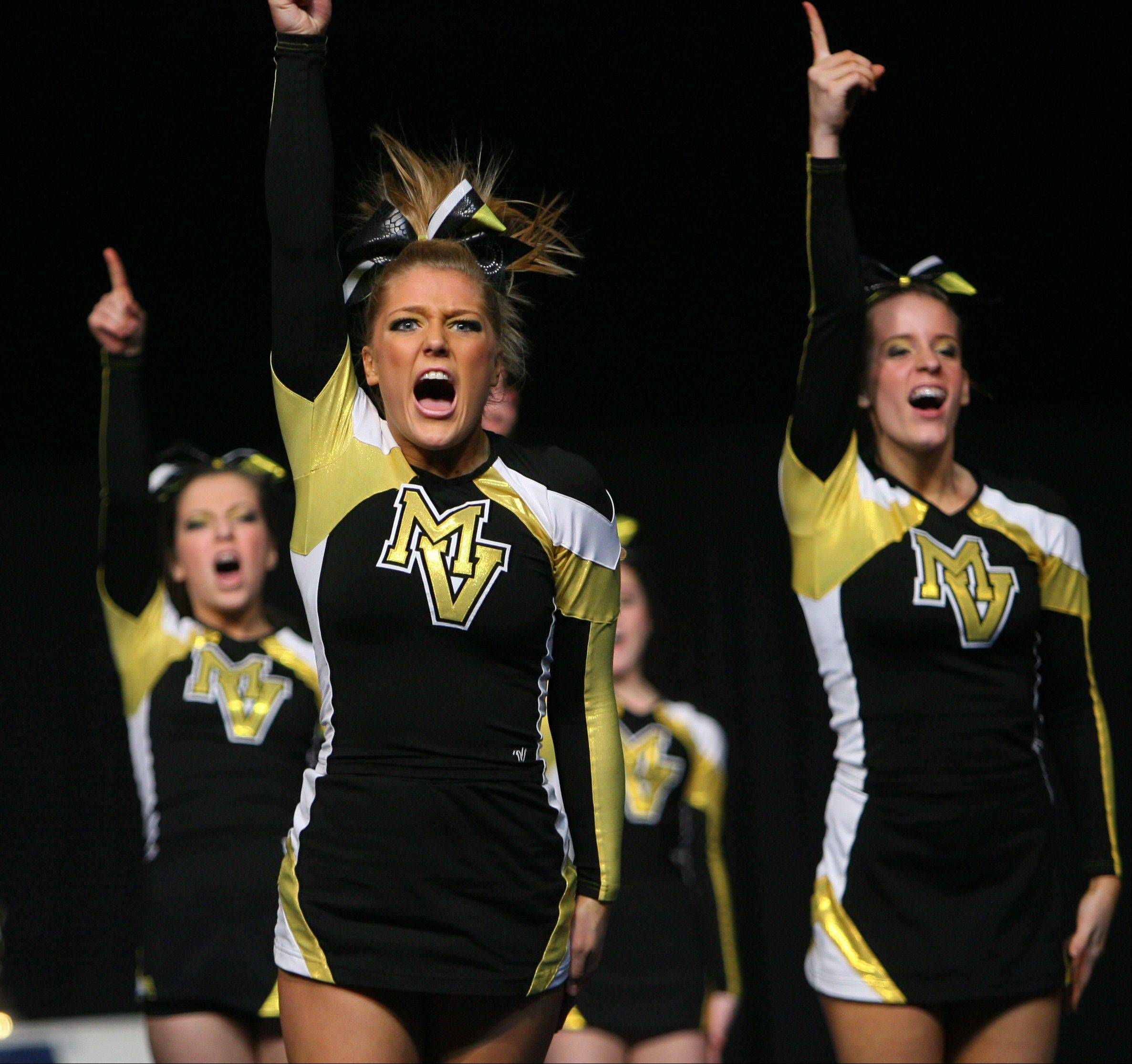 Metea Valley High School cheerleaders competes in the state championships Friday.