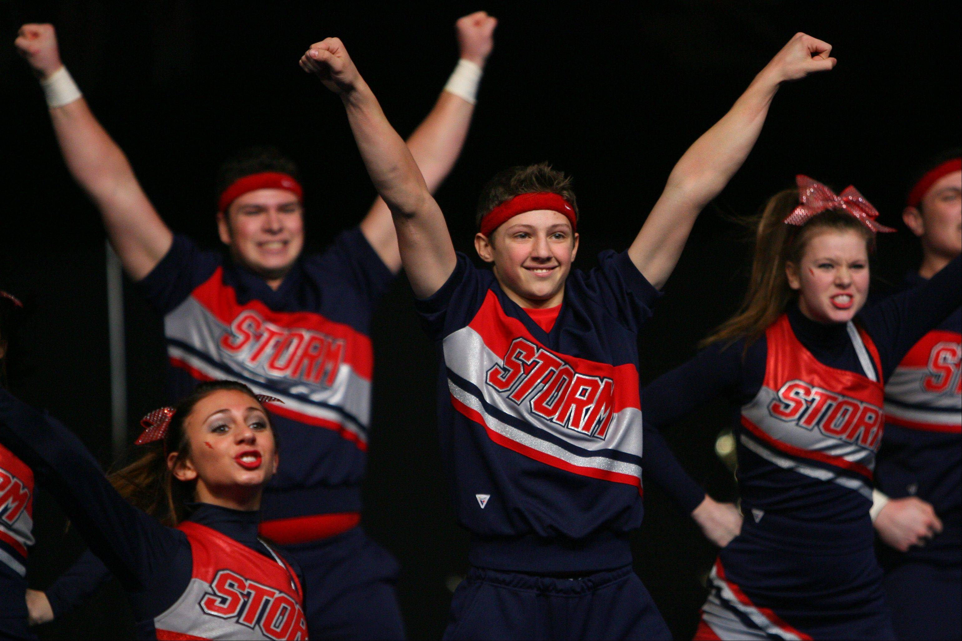 South Elgin's coed cheerleading team finished in the top 10 Friday and won a place in Saturday's finals.