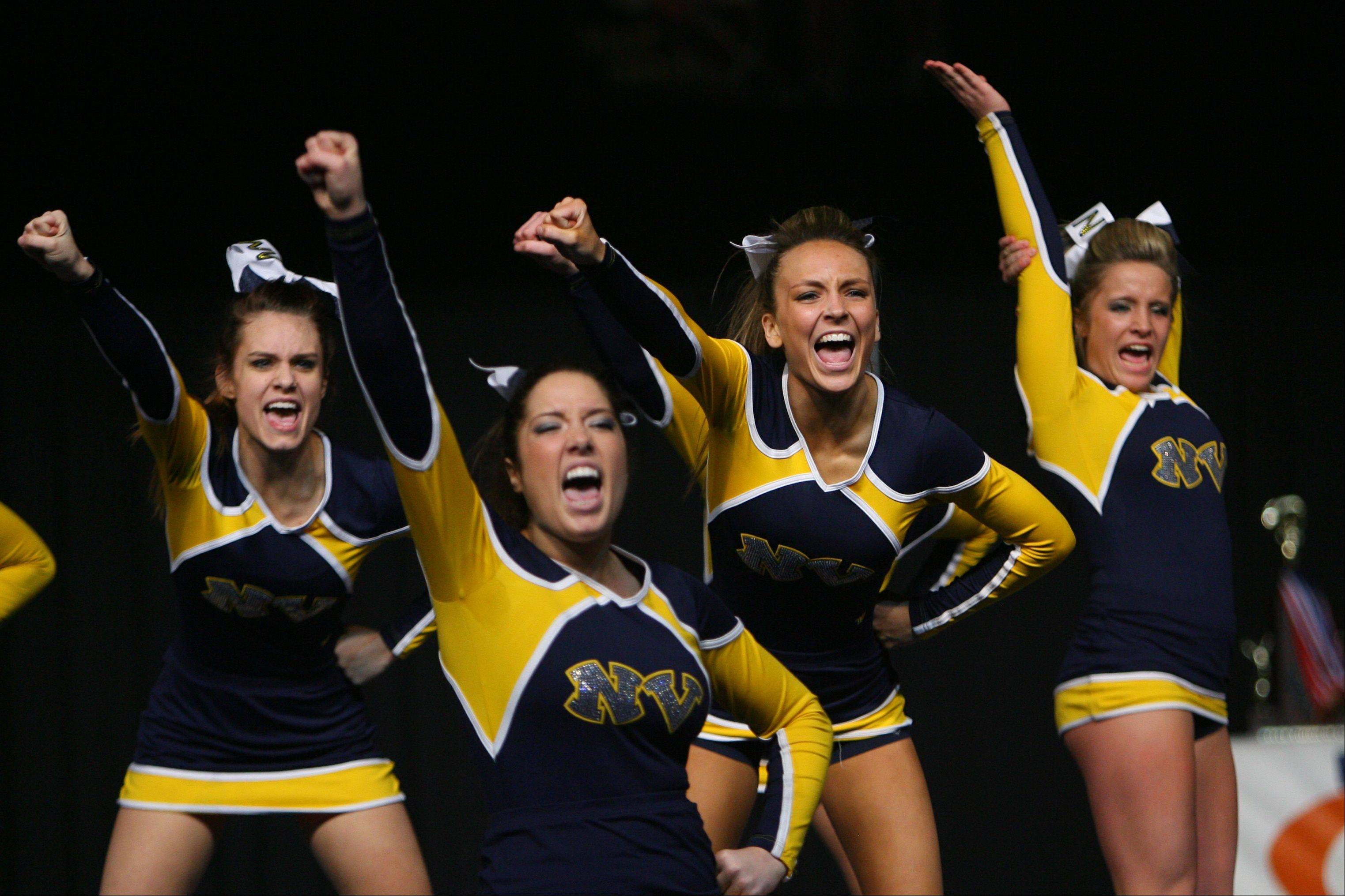 Neuqua Valley competes in large school prelims on Friday at the U.S. Cellular Coliseum in Bloomington. Neuqua advanced to Saturday's finals.