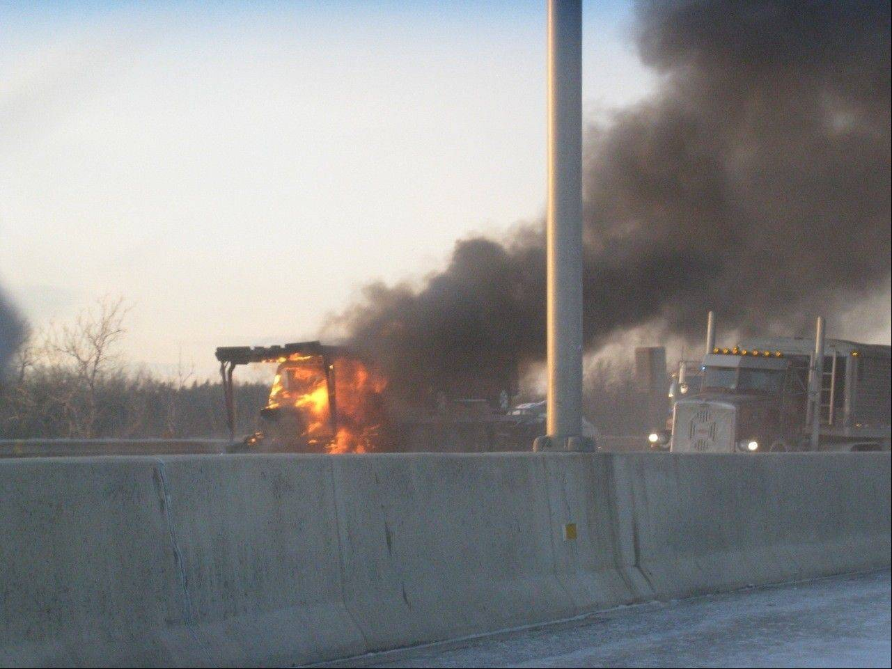 A semitrailer truck caught fire on Interstate 94 near Libertyville Friday afternoon.