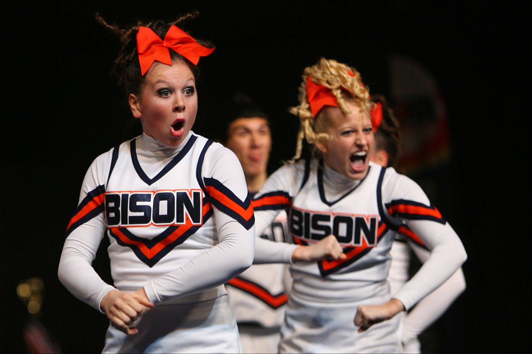 Buffalo Grove High School competes in the in the Competitive Cheerleading prelims on Friday at the U.S. Cellular Coliseum in Bloomington.