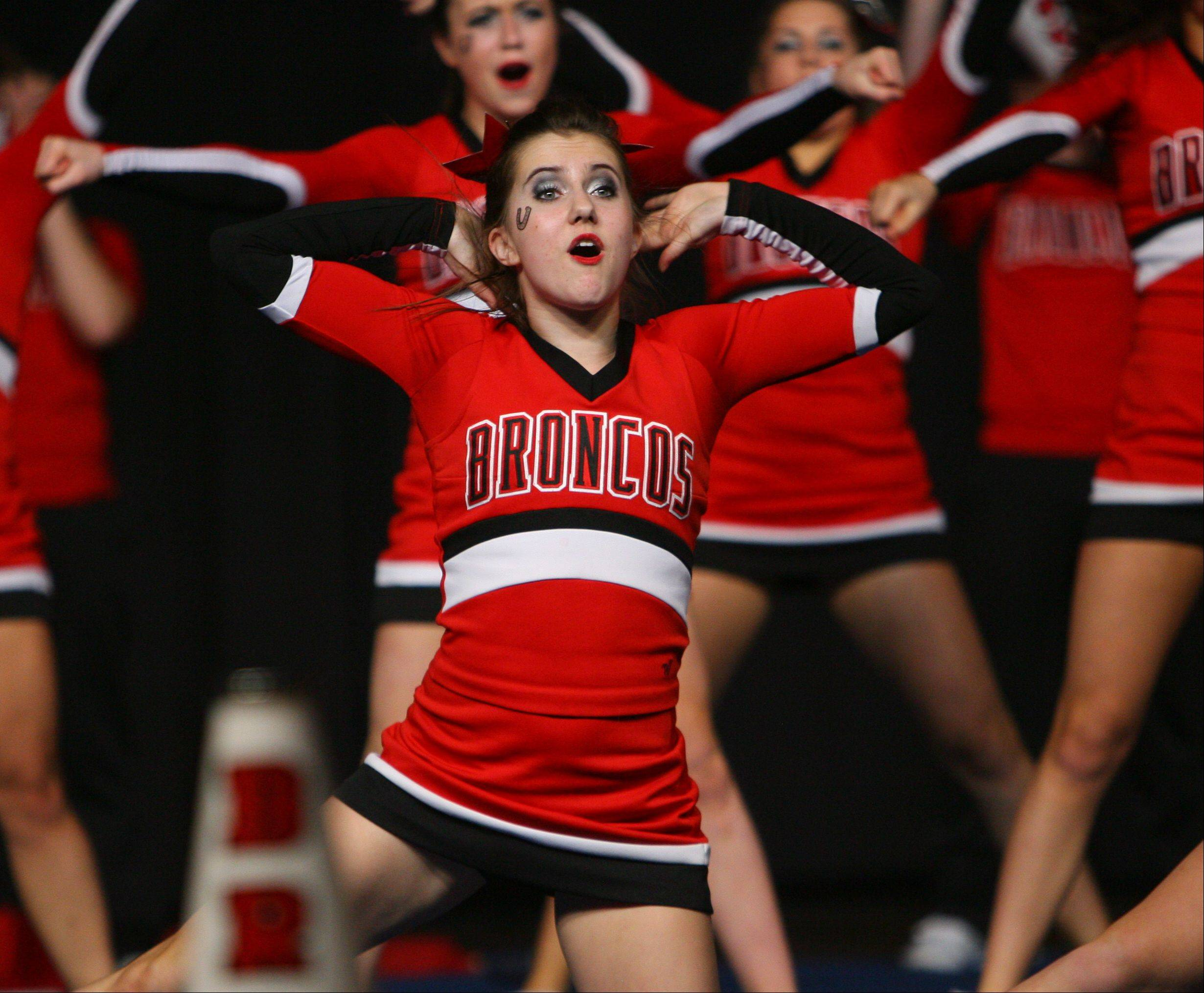 Barrington High School competes in the Competitive Cheerleading prelims on Friday at the U.S. Cellular Coliseum in Bloomington.