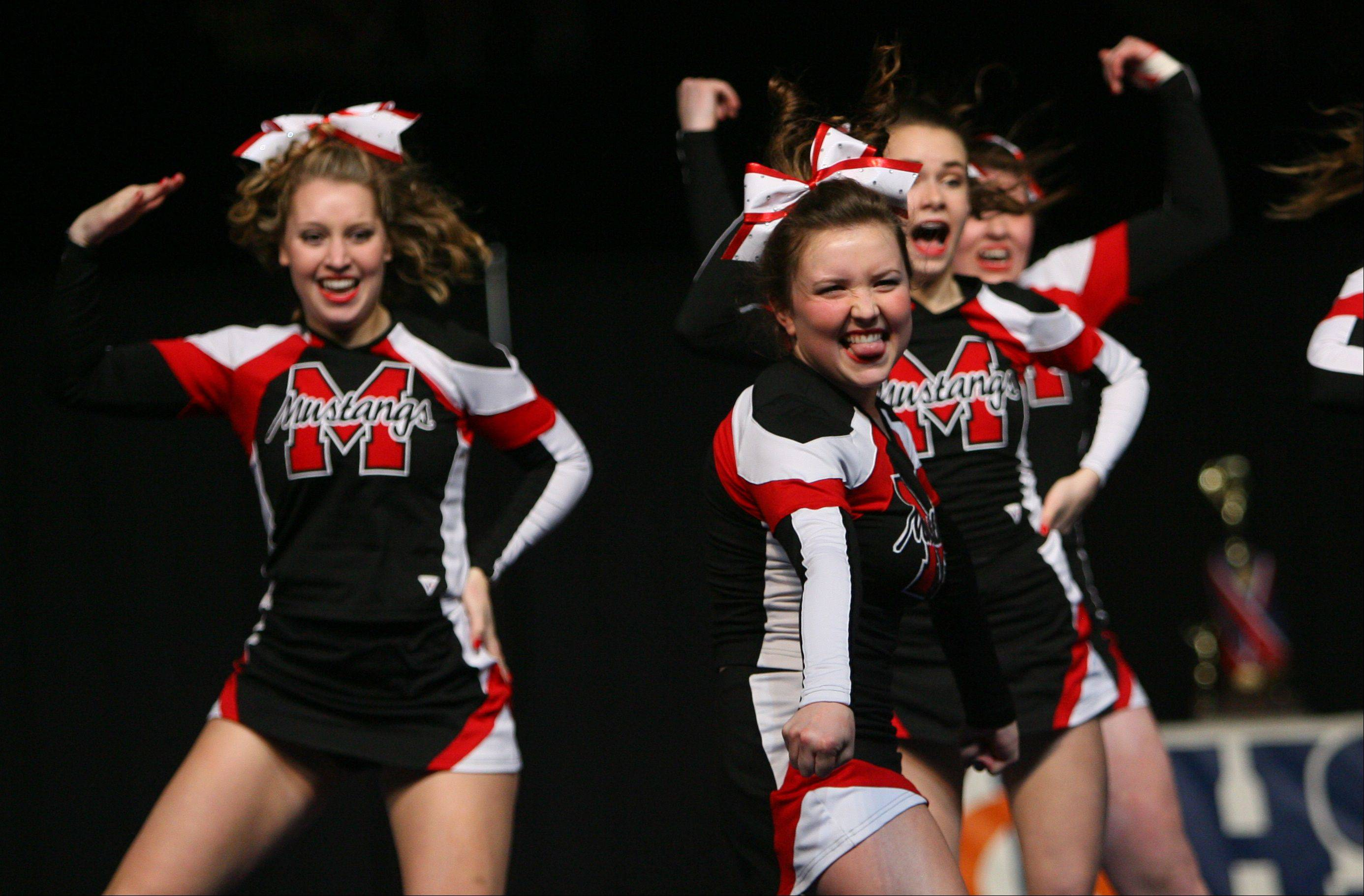 Mundelein High School competes in the in the Competitive Cheerleading prelims on Friday at the U.S. Cellular Coliseum in Bloomington.