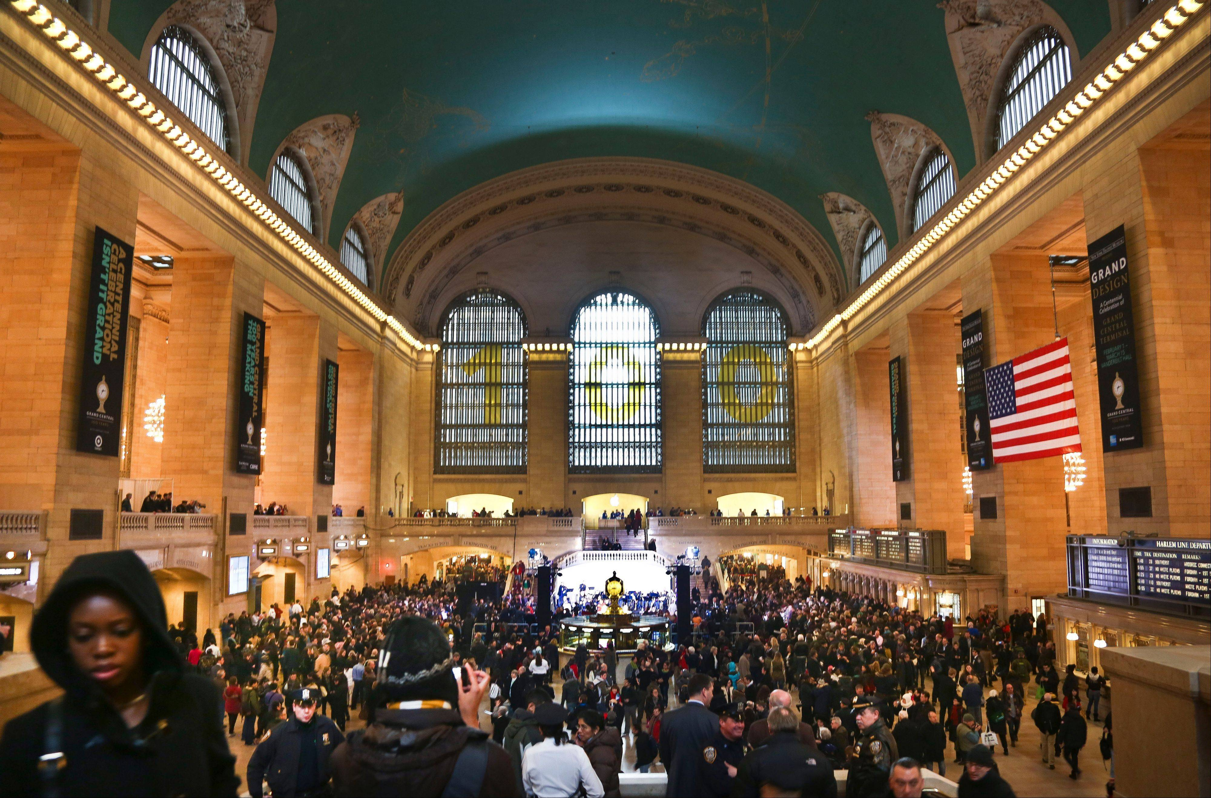 Crowds gather Friday as Grand Central Terminal kicks off its centennial celebration.