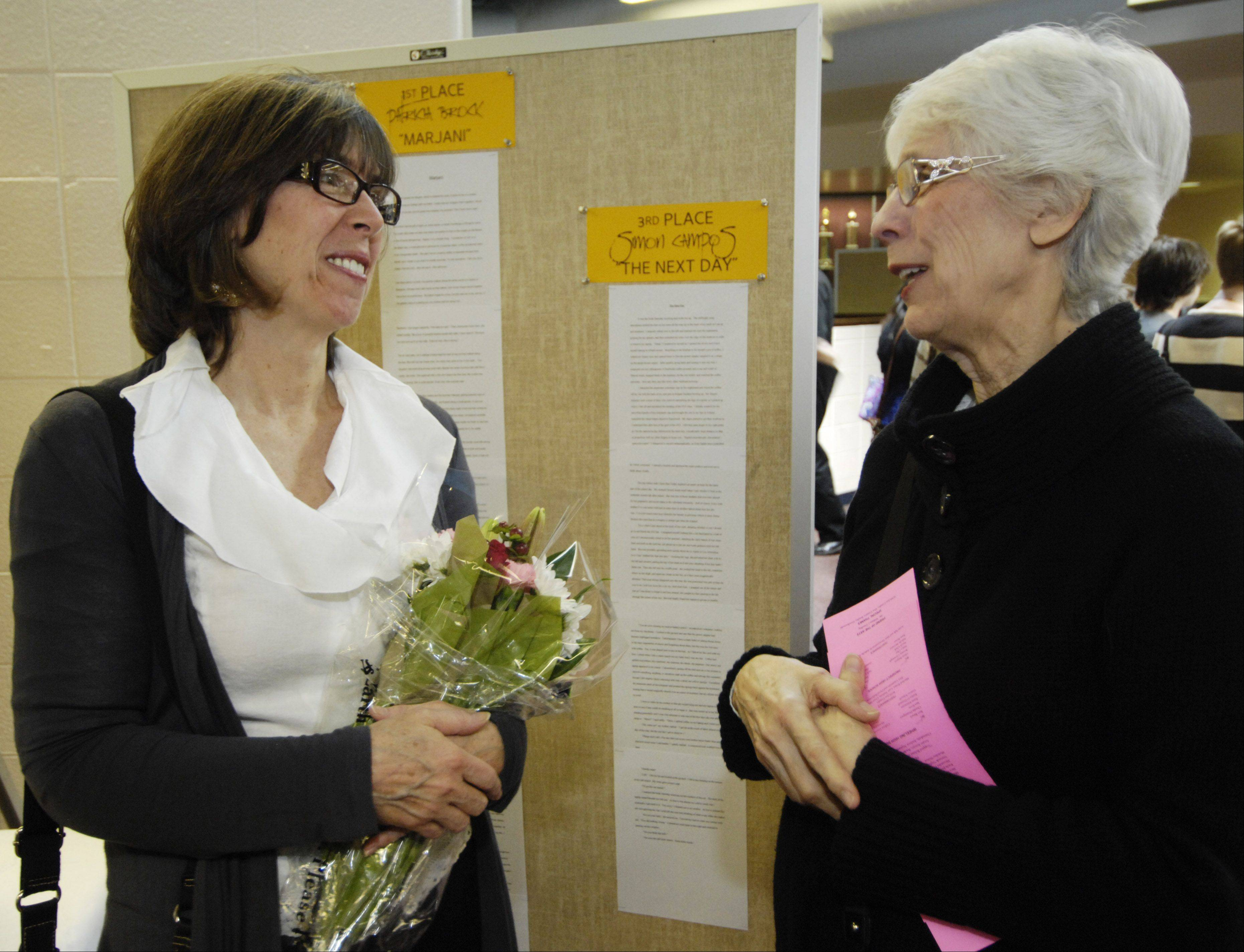 Patricia Brock of Mount Prospect chats with her mom, Gloria Colgan of Elk Grove Village, at the 2012 reception.