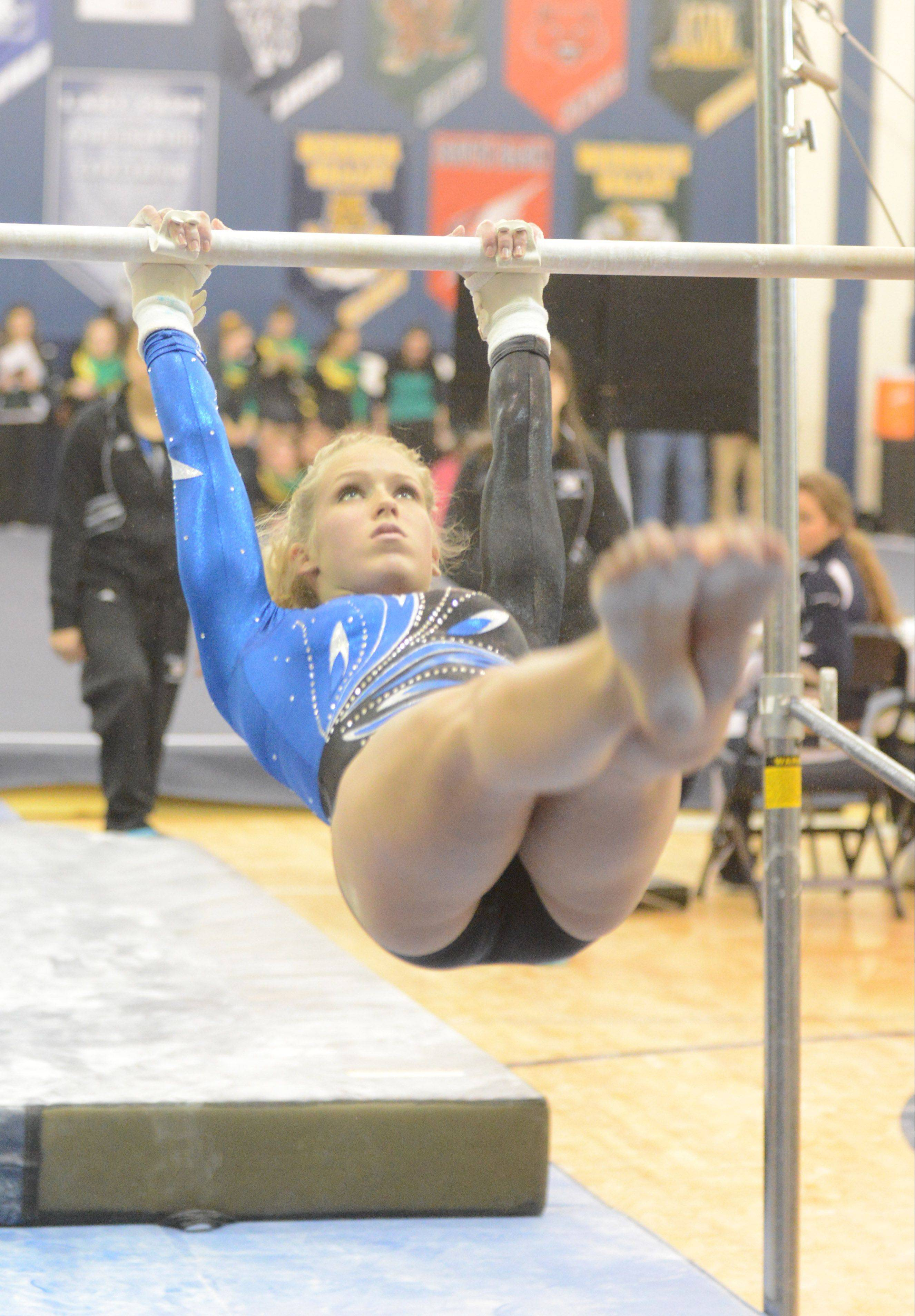 McKenna Merges, pictured last Saturday at the Upstate Eight gymnastics meet at Lake Park, helped Geneva win its regional Friday in dominating fashion.