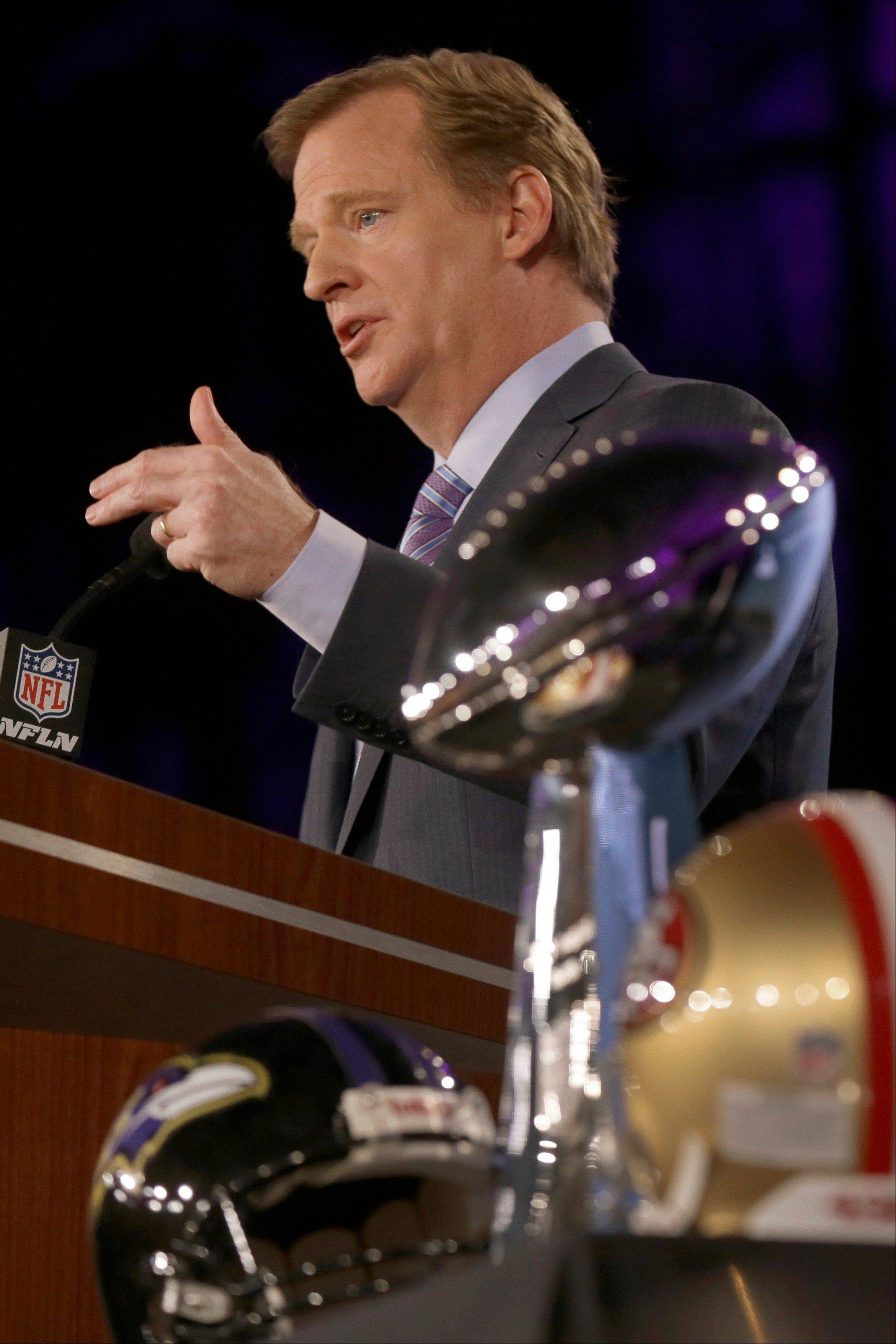 NFL Commissioner Roger Goodell answers questions during an NFL Super Bowl XLVII football game news conference at the New Orleans Convention Center, Friday, Feb. 1, 2013. in New Orleans.