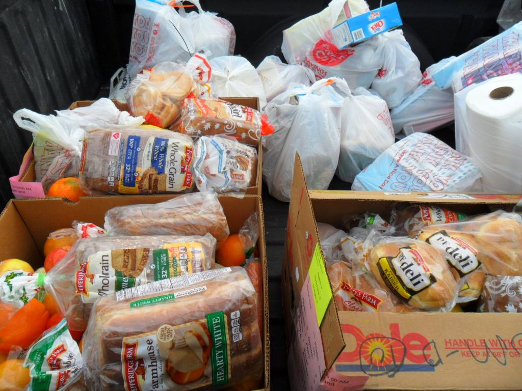 Produce, bread, and other groceries loaded up to be sent to needy seniors served by HSP's project.