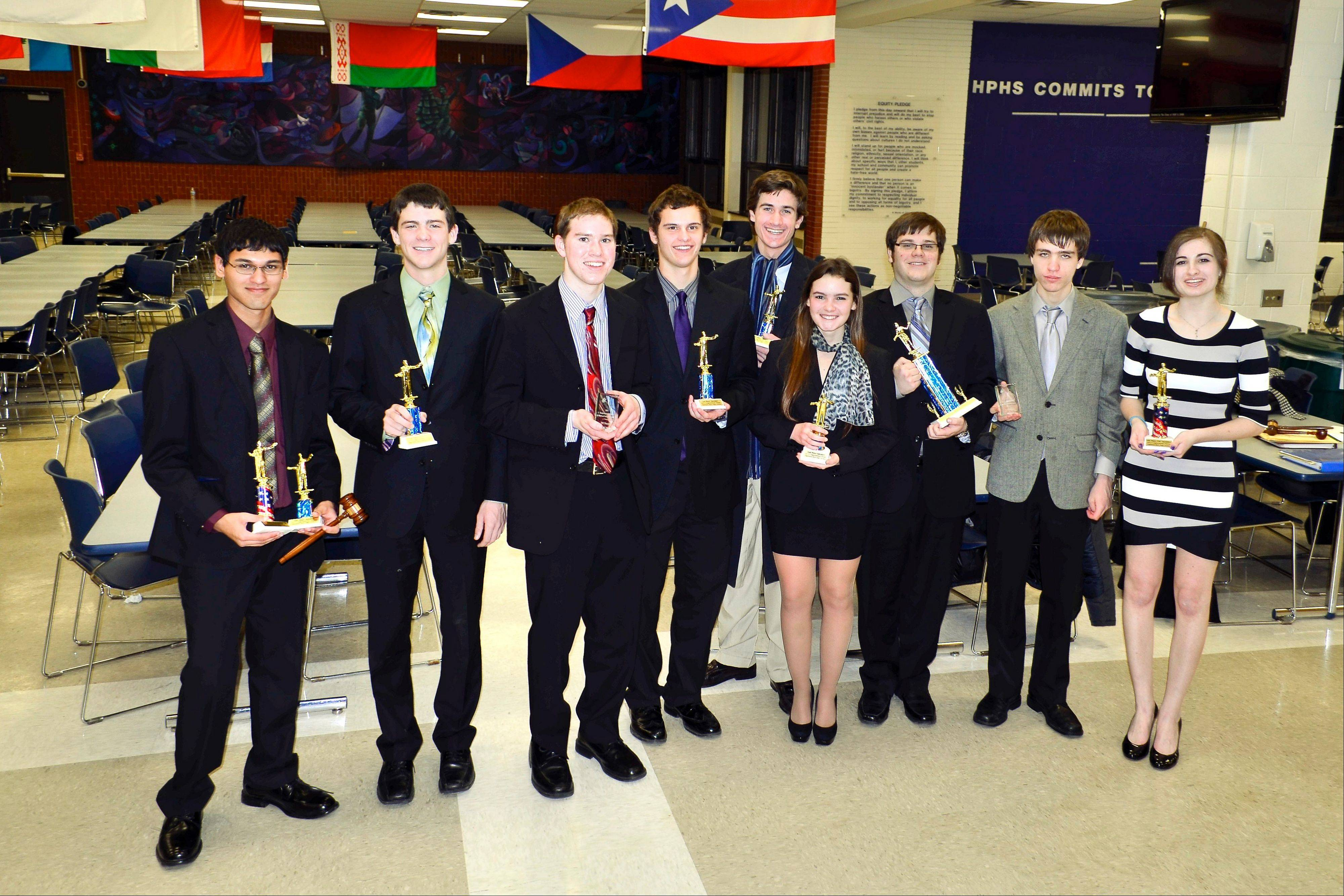 The winning Hersey debaters at the Tournament of Champions (TOC) Qualifier held Jan. 25-26, at Highland Park High School.