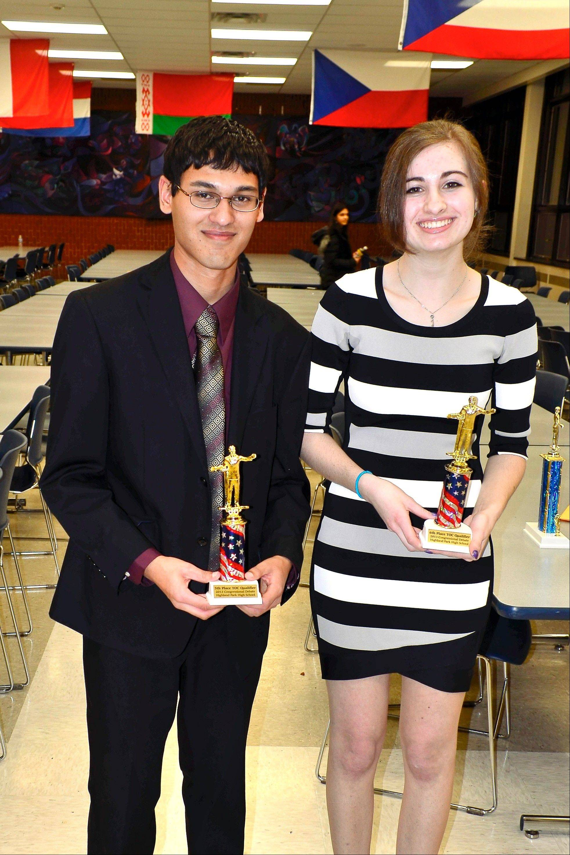 Hersey students Vivek Shah and Melanie Cohodes win top honors at TOC Qualifier at Highland Park High School.