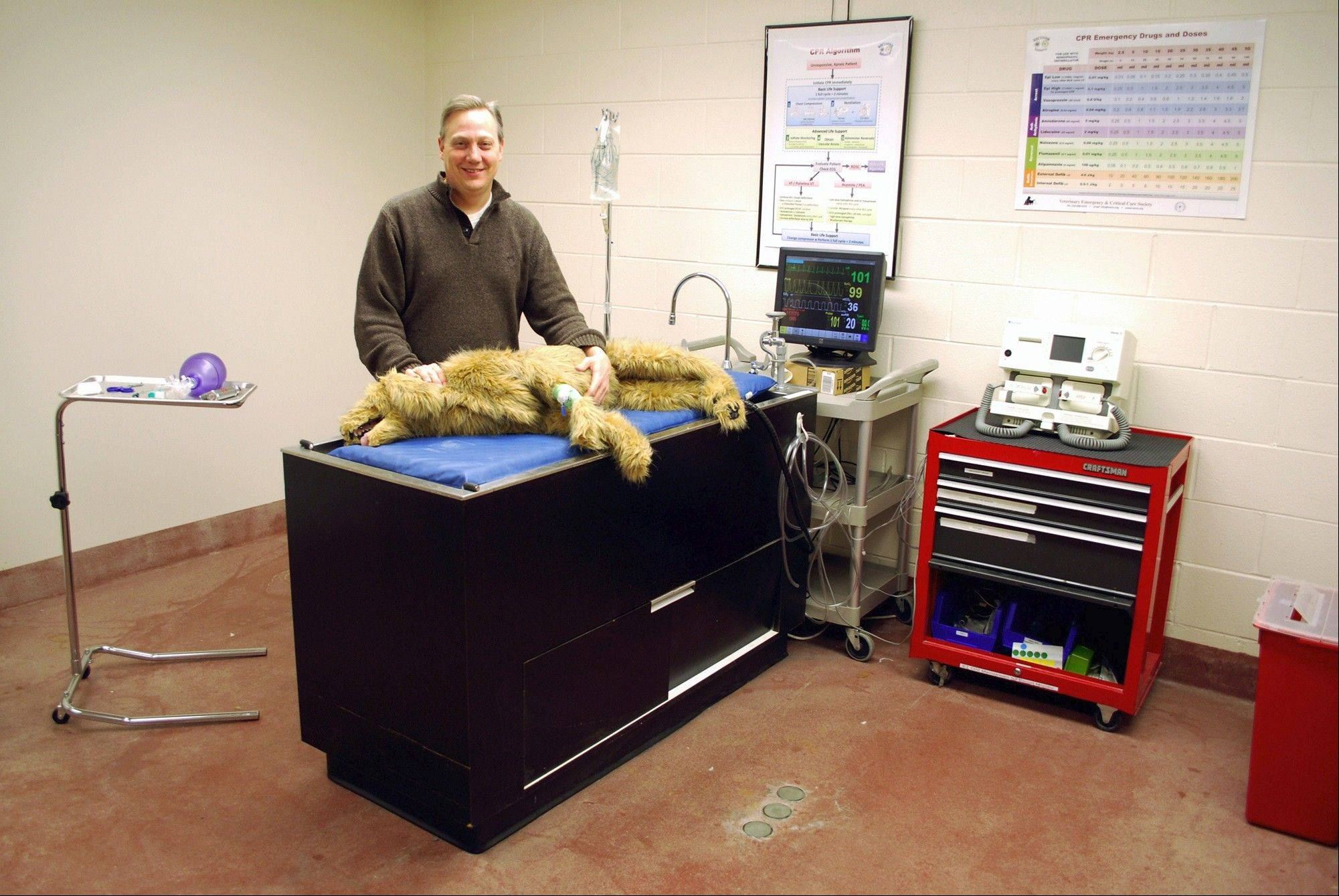 "Vet School Prof. Dan Fletcher shows off a ""robo dog"" in the Simulation Center at the Cornell University College of Veterinary Medicine in New York. Using the robo dog eliminates Fletcher's need to use live dogs for teaching students how to treat animals in emergency or critical care situations."