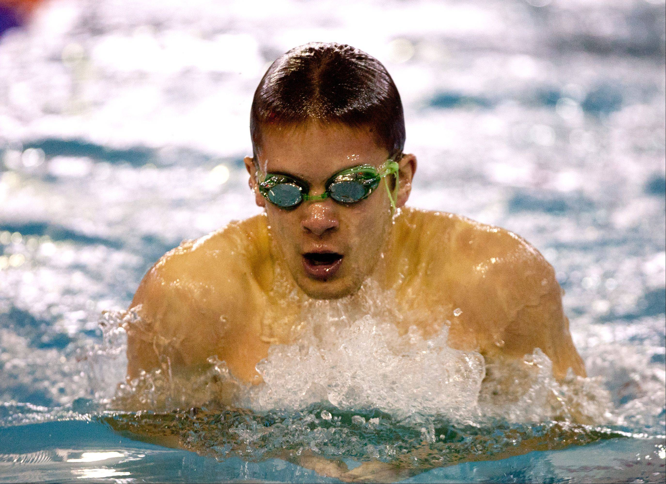 Kevin Kielma of Naperville North High School, swims the 200 yard IM, during the DVC Swimming Conference Championship held at Naperville North High School.