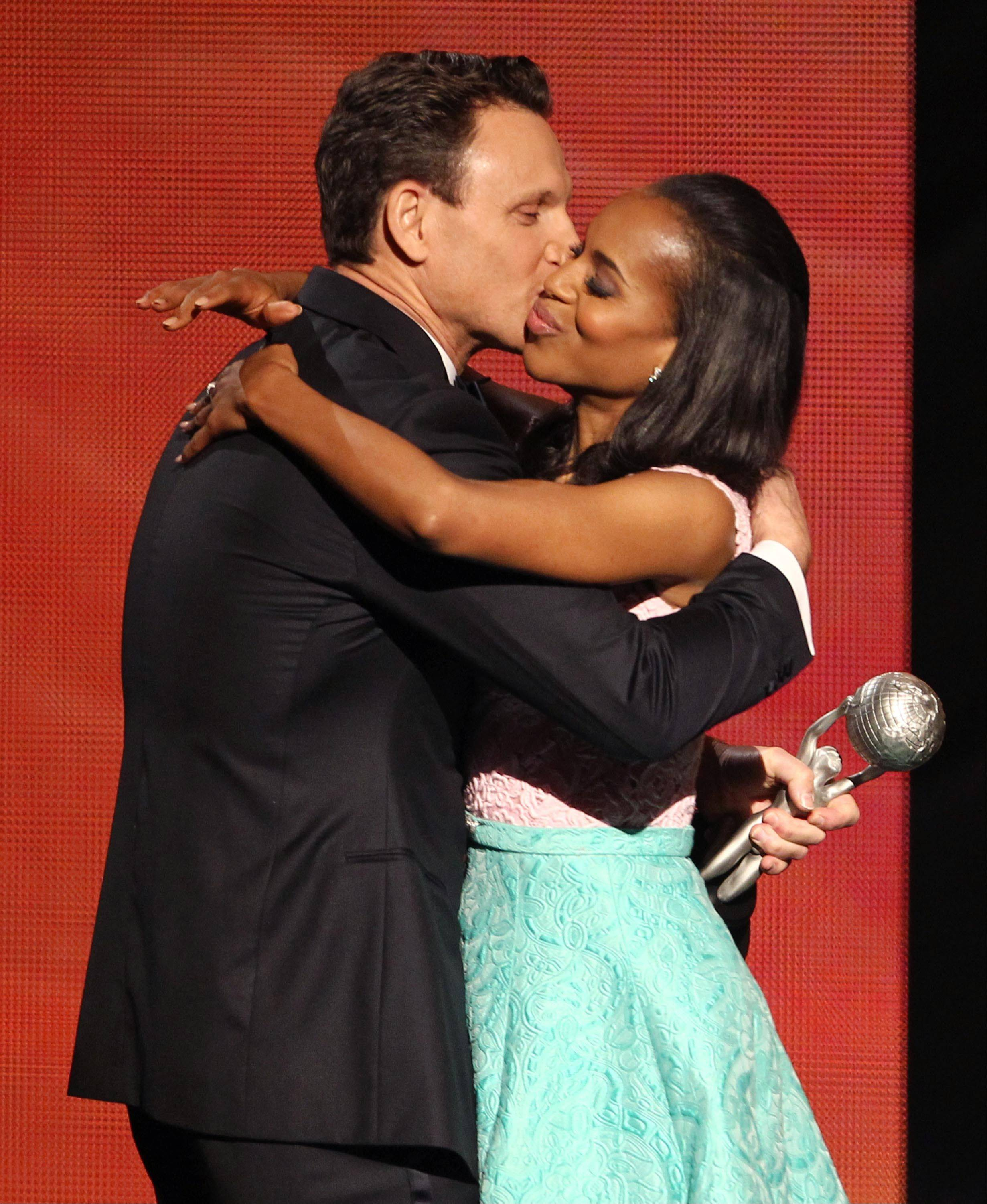 "Tony Goldwyn presents the award for outstanding actress in a drama series to his ""Scandal"" co-star Kerry Washington for ""Scandal"" at the 44th Annual NAACP Image Awards at the Shrine Auditorium in Los Angeles on Friday, Feb. 1, 2013."
