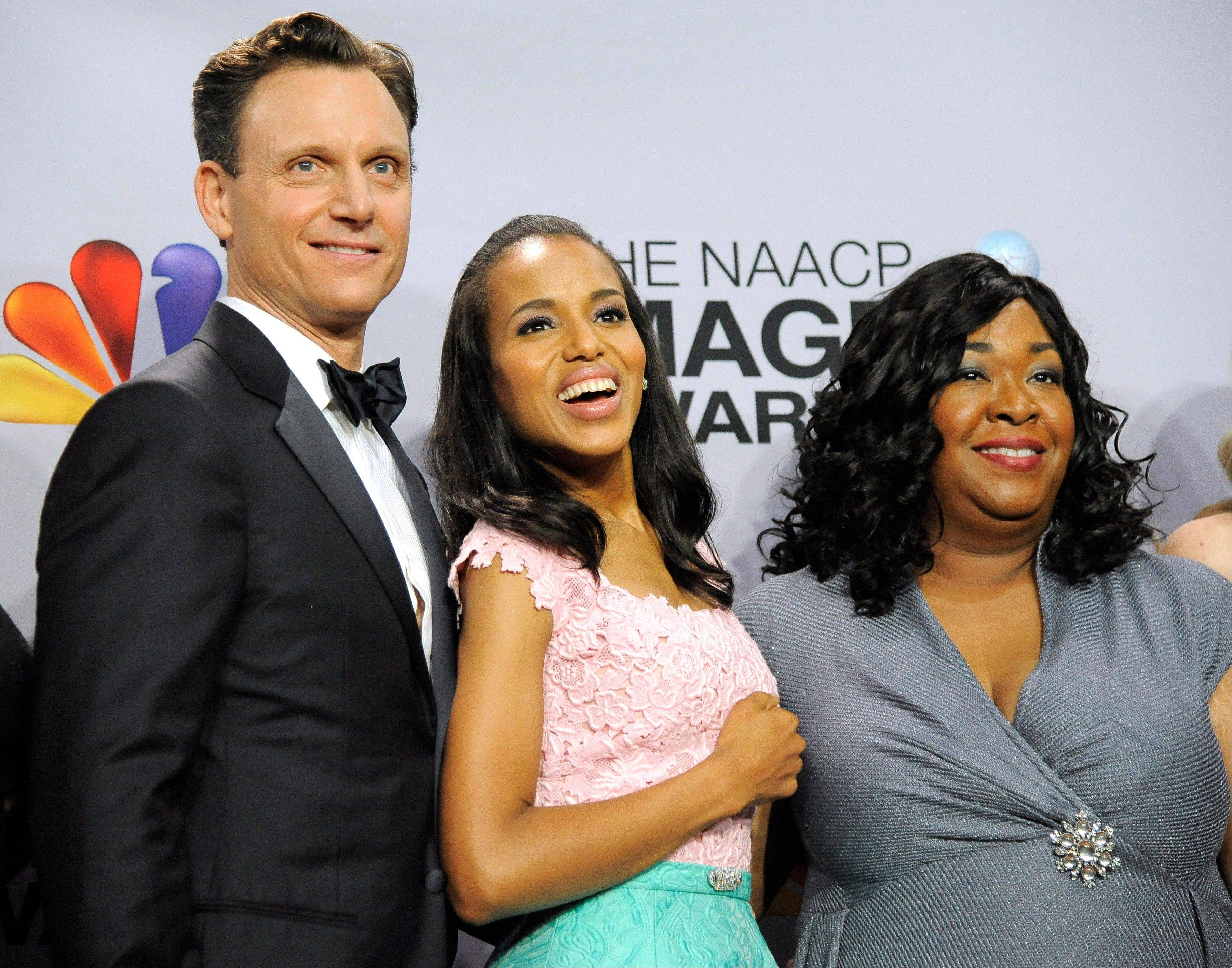 "From left, ""Scandal"" stars Tony Goldwyn and Kerry Washington along with the series' creator Shonda Rhimes pose backstage at the 44th Annual NAACP Image Awards at the Shrine Auditorium in Los Angeles on Friday, Feb. 1, 2013."