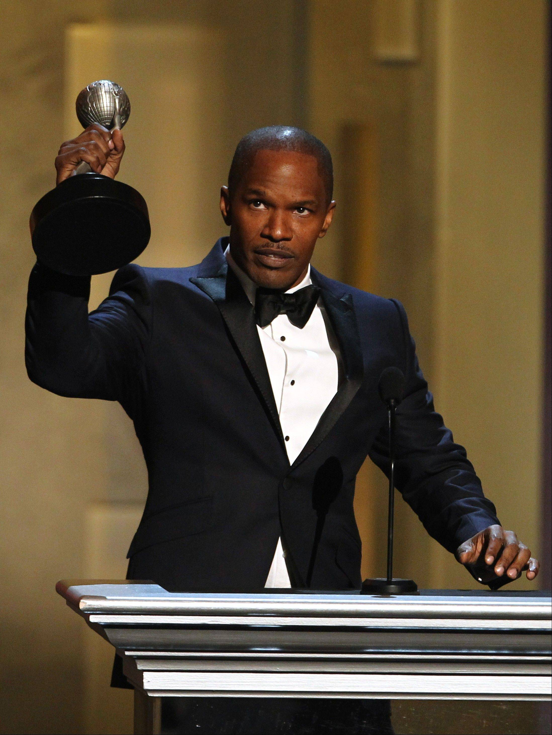 Jamie Foxx accepts the entertainer of the year award at the 44th Annual NAACP Image Awards at the Shrine Auditorium in Los Angeles on Friday, Feb. 1, 2013.
