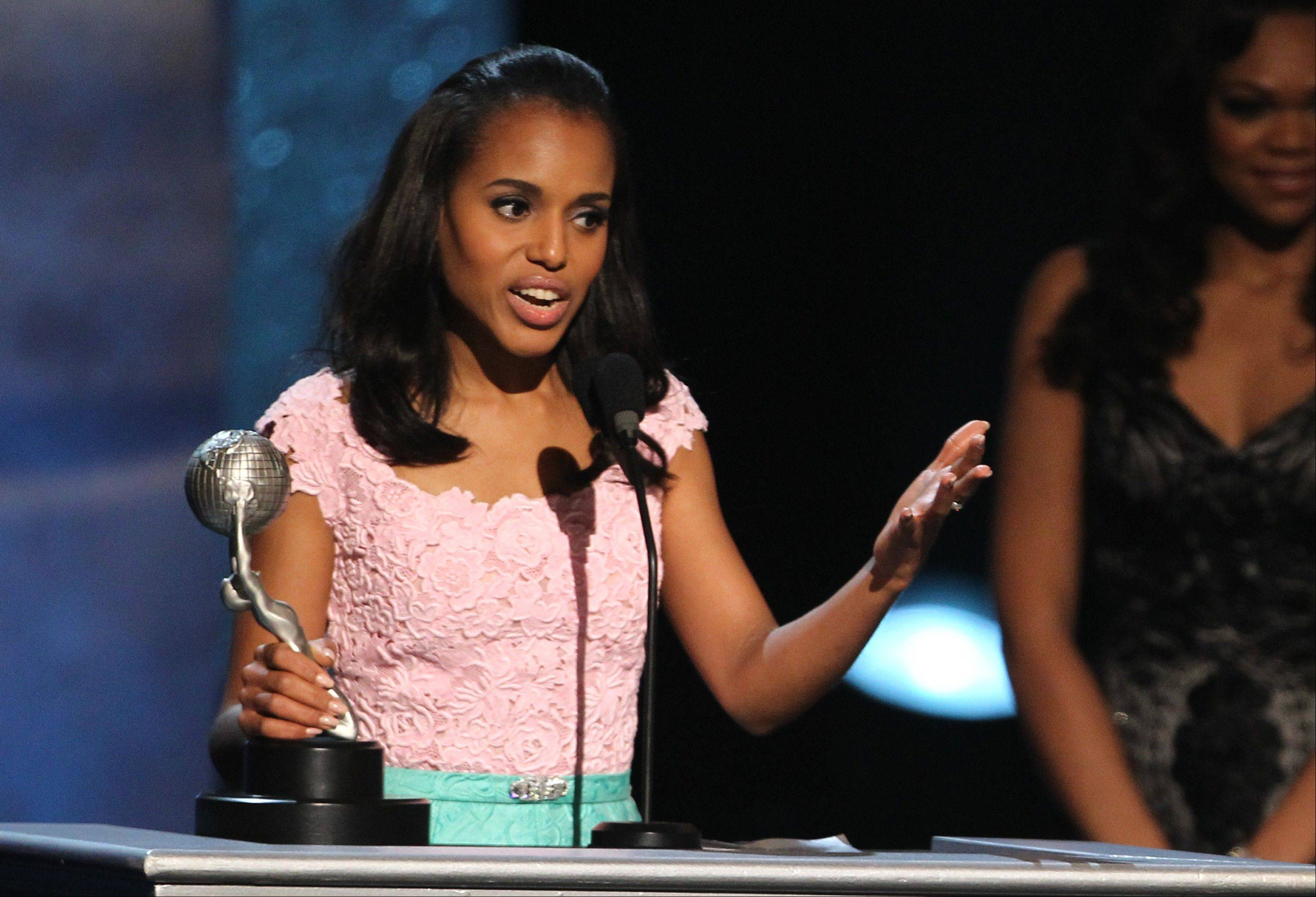 "Kerry Washington accepts the award for outstanding supporting actress in a motion picture for ""Django Unchained"" at the 44th Annual NAACP Image Awards at the Shrine Auditorium in Los Angeles on Friday, Feb. 1, 2013."