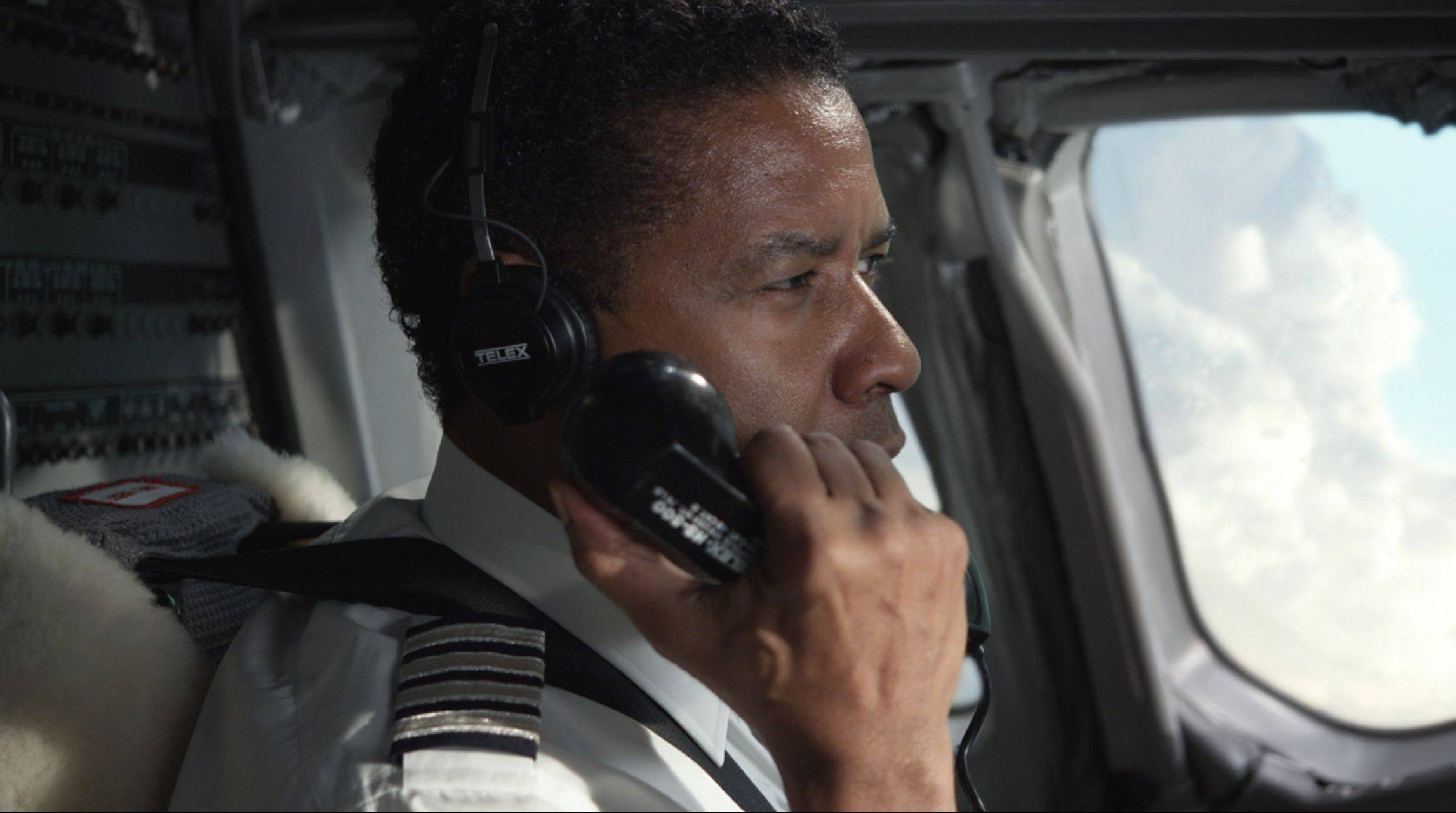 "Denzel Washington portrays airline pilot Whip Whitaker in the drama ""Flight."""