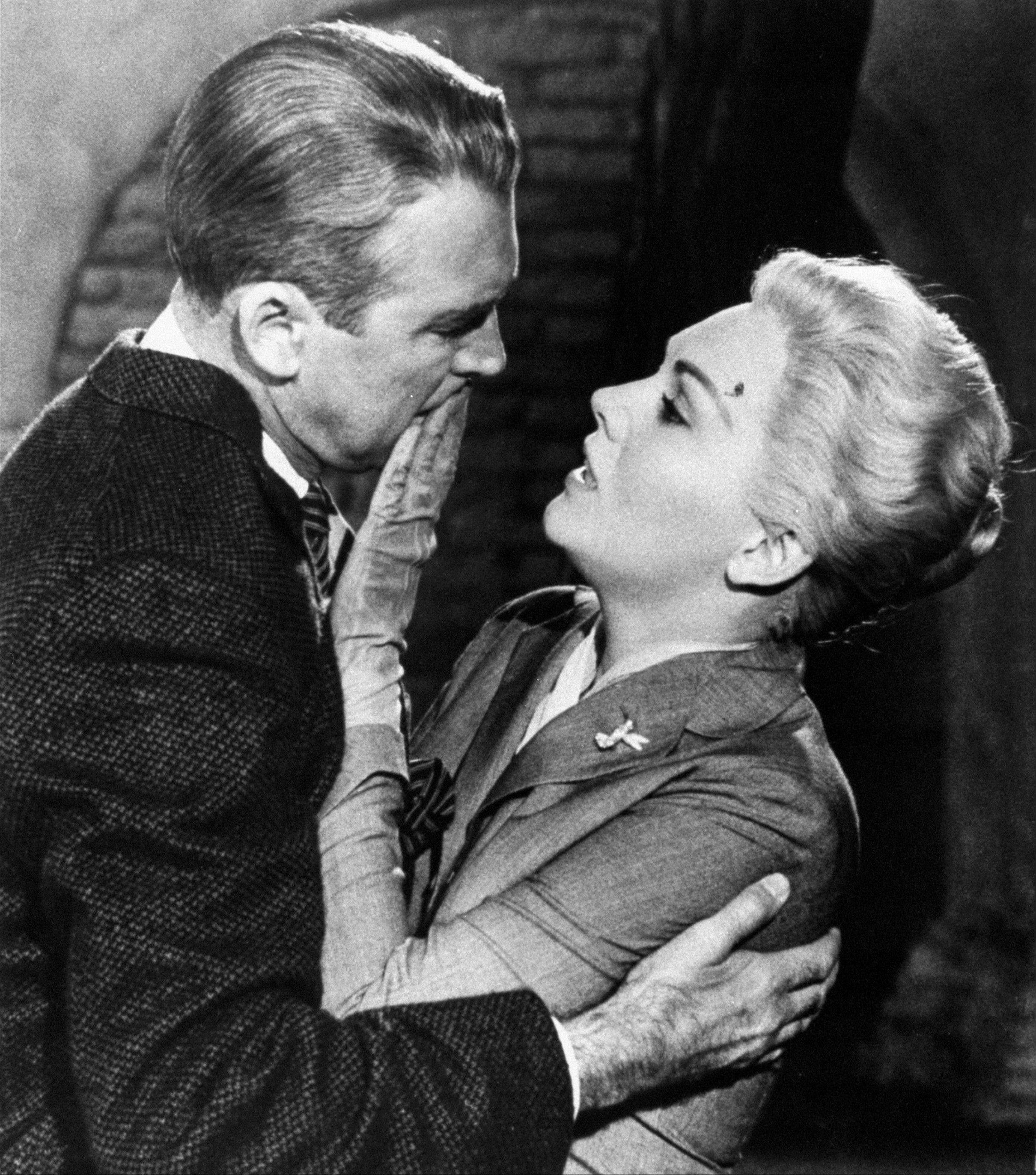 "Jimmy Stewart, left, and Kim Novak, from Alfred Hitchcock's 1958 film, ""Vertigo."""