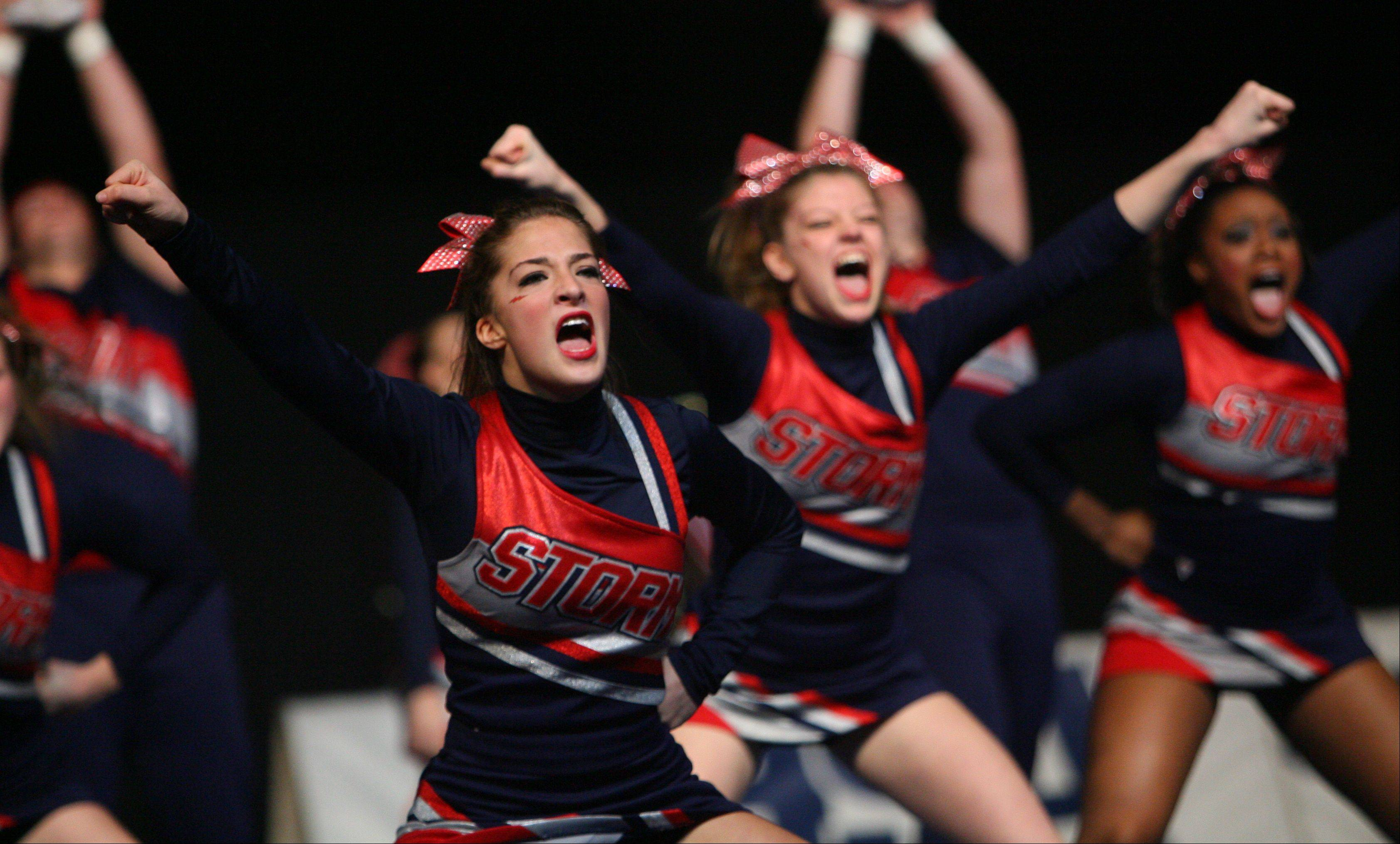 South Elgin High School participates in the IHSA Competitive Cheerleading finals on Saturday at the U.S. Cellular Coliseum in Bloomington.
