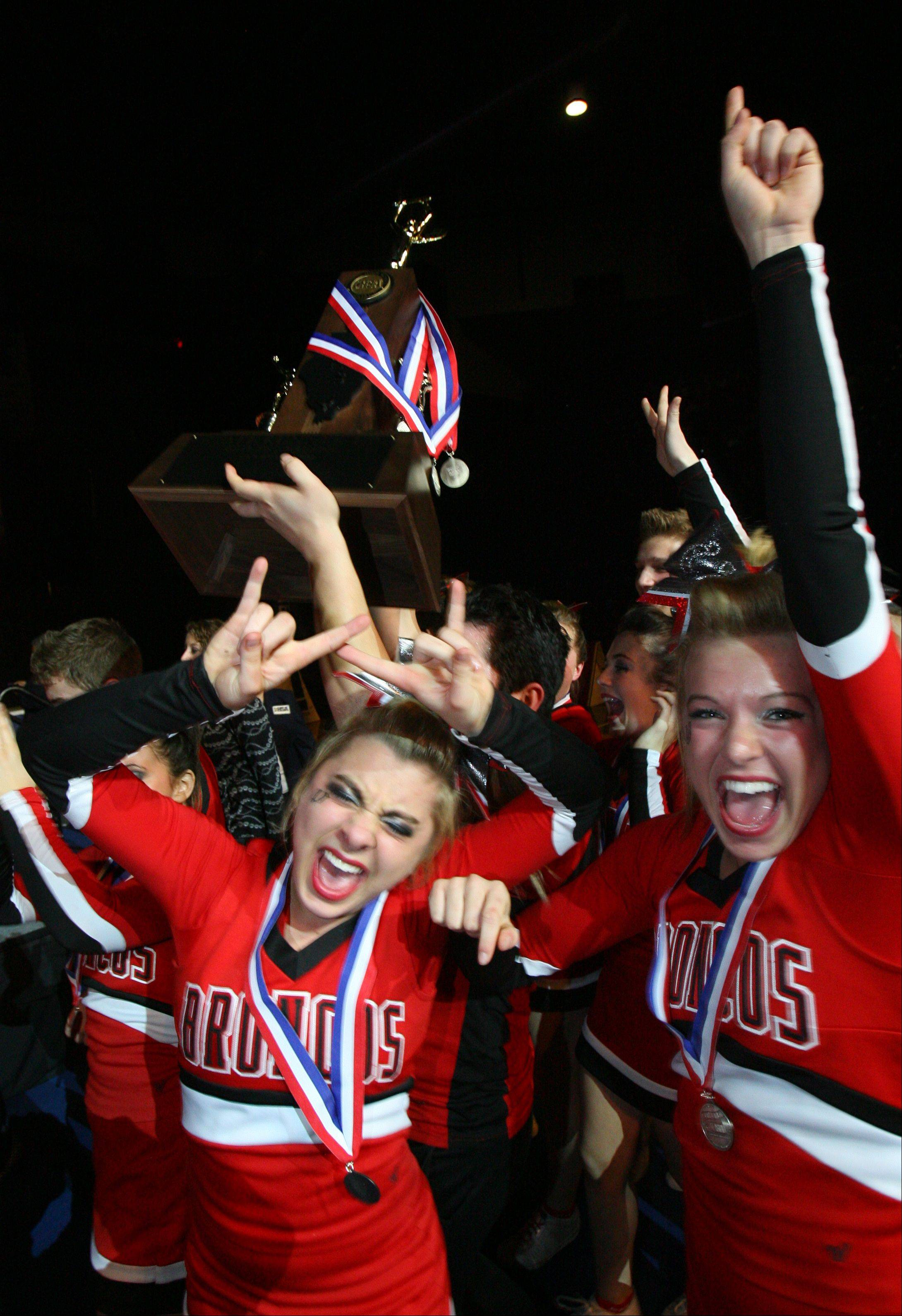 Barrington High School's large co-ed team celebrate after winning 2nd place in the IHSA Competitive Cheerleading finals on Saturday, Feb. 2 at the U.S. Cellular Coliseum in Bloomington.