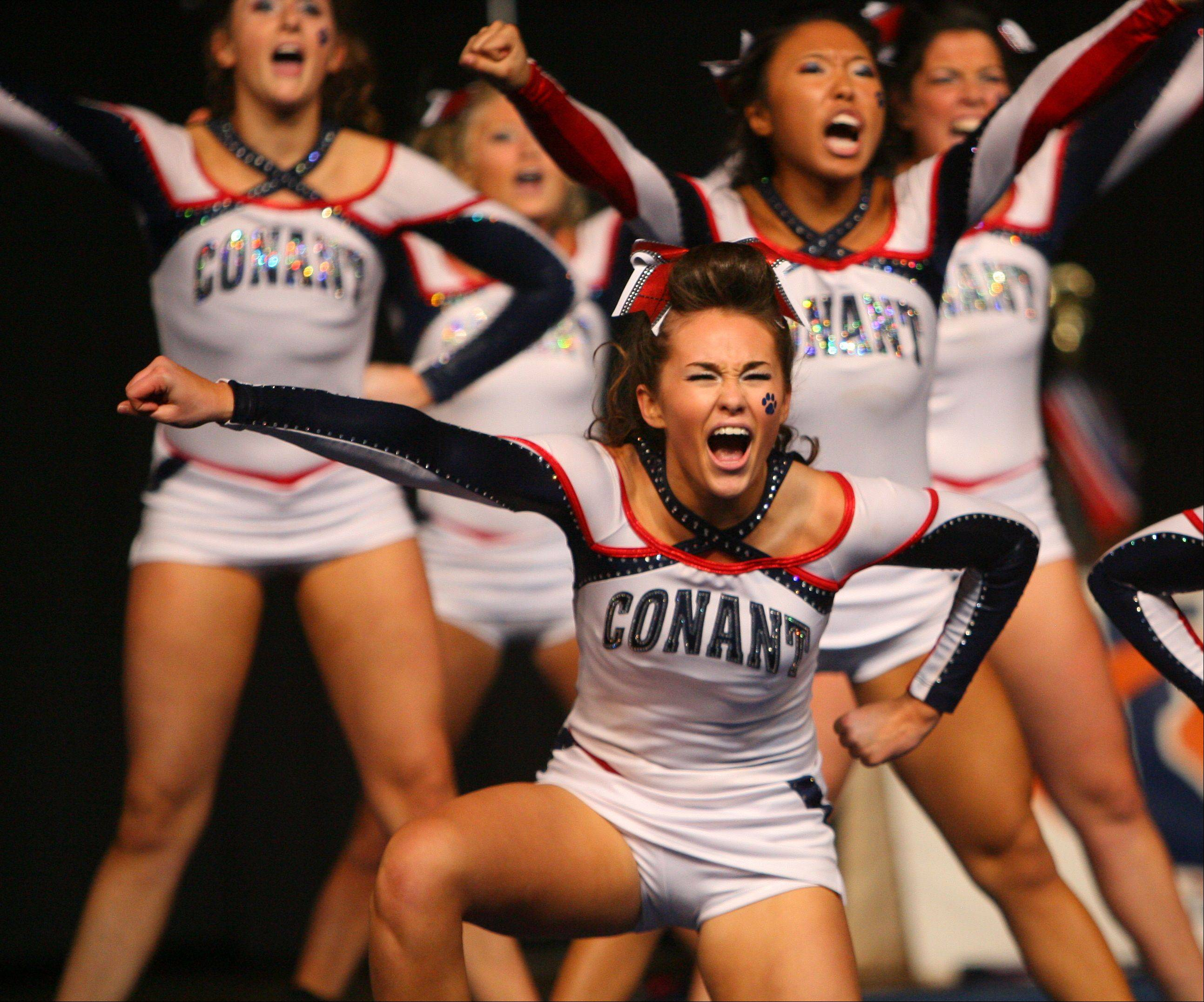 Conant High School waits for the results in the IHSA Competitive Cheerleading finals on Saturday, Feb. 2 at the U.S. Cellular Coliseum in Bloomington.