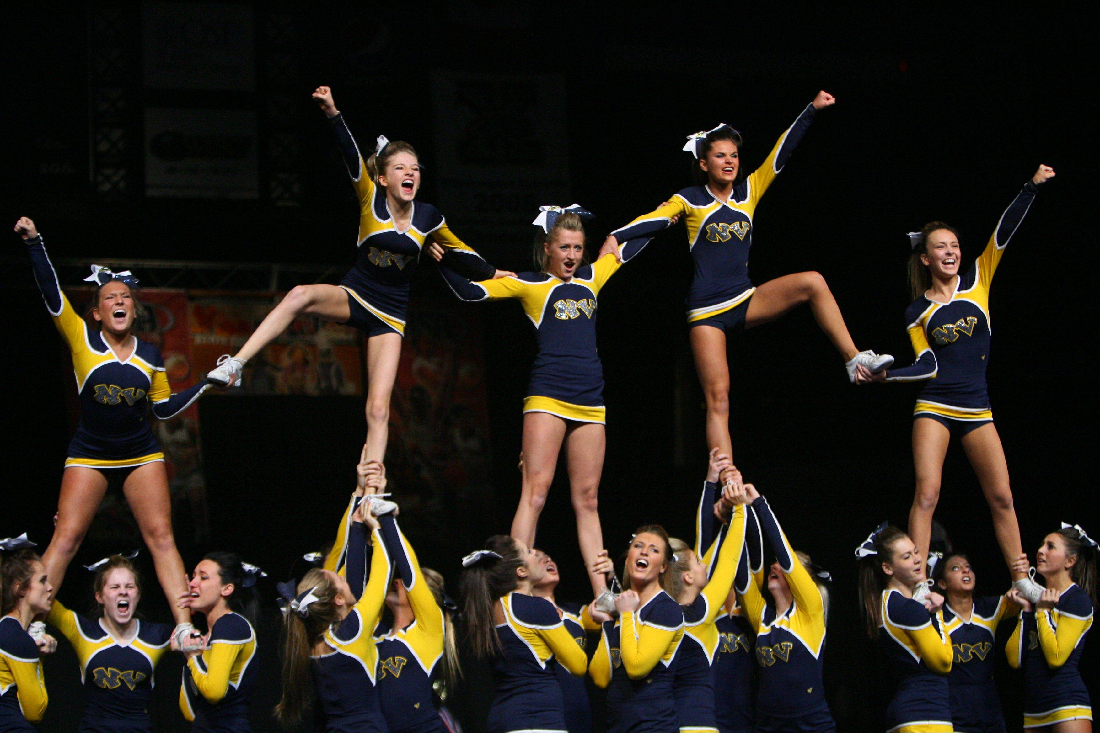 Neuqua Valley High School participates in the IHSA Competitive Cheerleading finals on Saturday, Feb. 2 at the U.S. Cellular Coliseum in Bloomington.