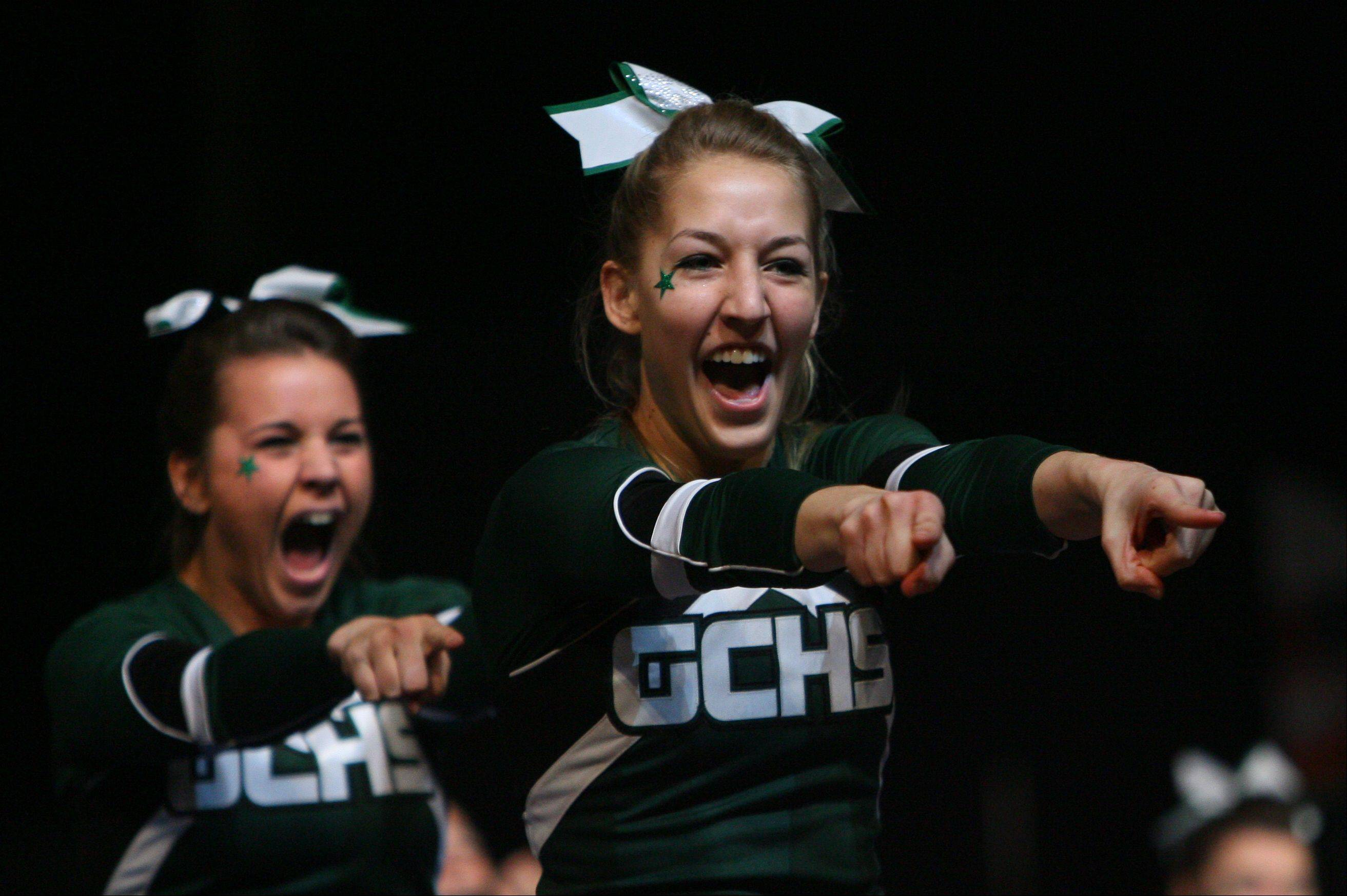 Grayslake Central High School participates in the IHSA Competitive Cheerleading finals on Saturday, Feb. 2 at the U.S. Cellular Coliseum in Bloomington.