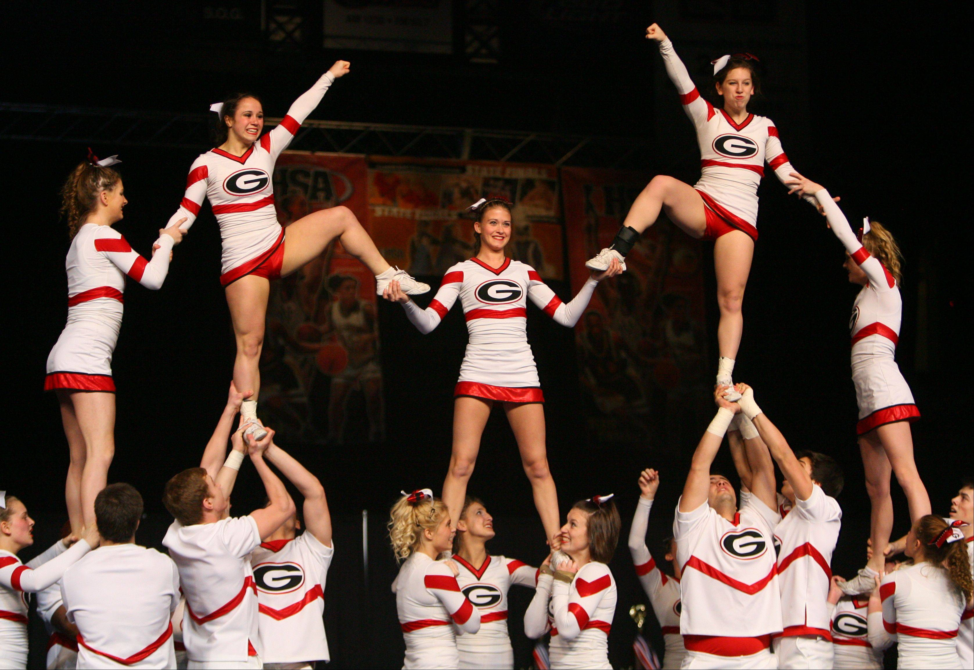 Grant High School participates in the IHSA Competitive Cheerleading finals on Saturday, Feb. 2 at the U.S. Cellular Coliseum in Bloomington.