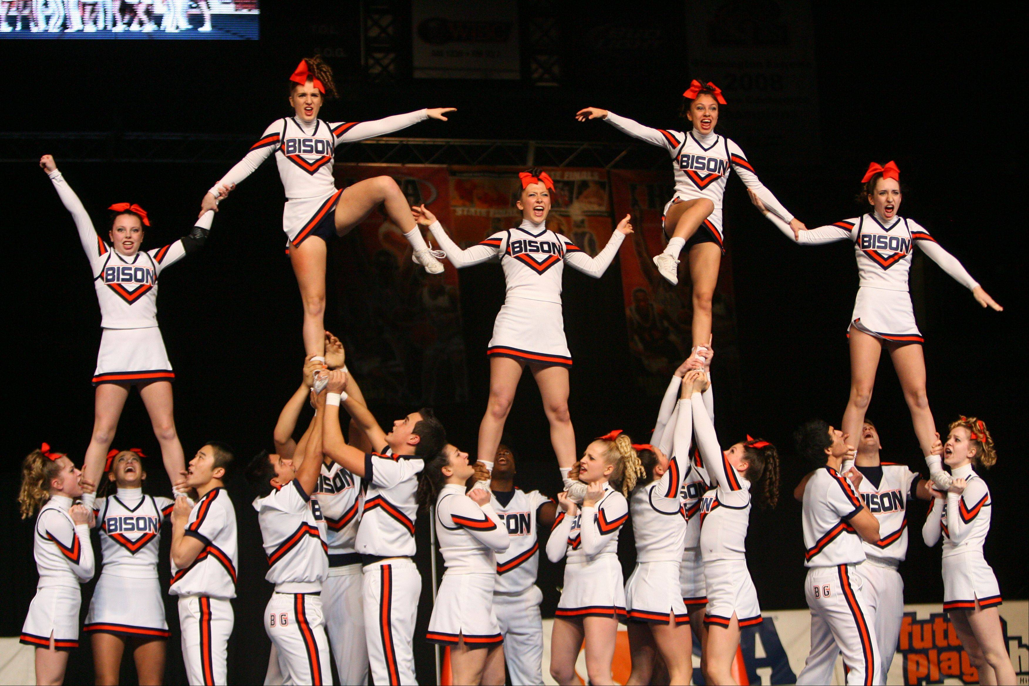 Buffalo Grove High School waits for the results in the IHSA Competitive Cheerleading finals on Saturday, Feb. 2 at the U.S. Cellular Coliseum in Bloomington.
