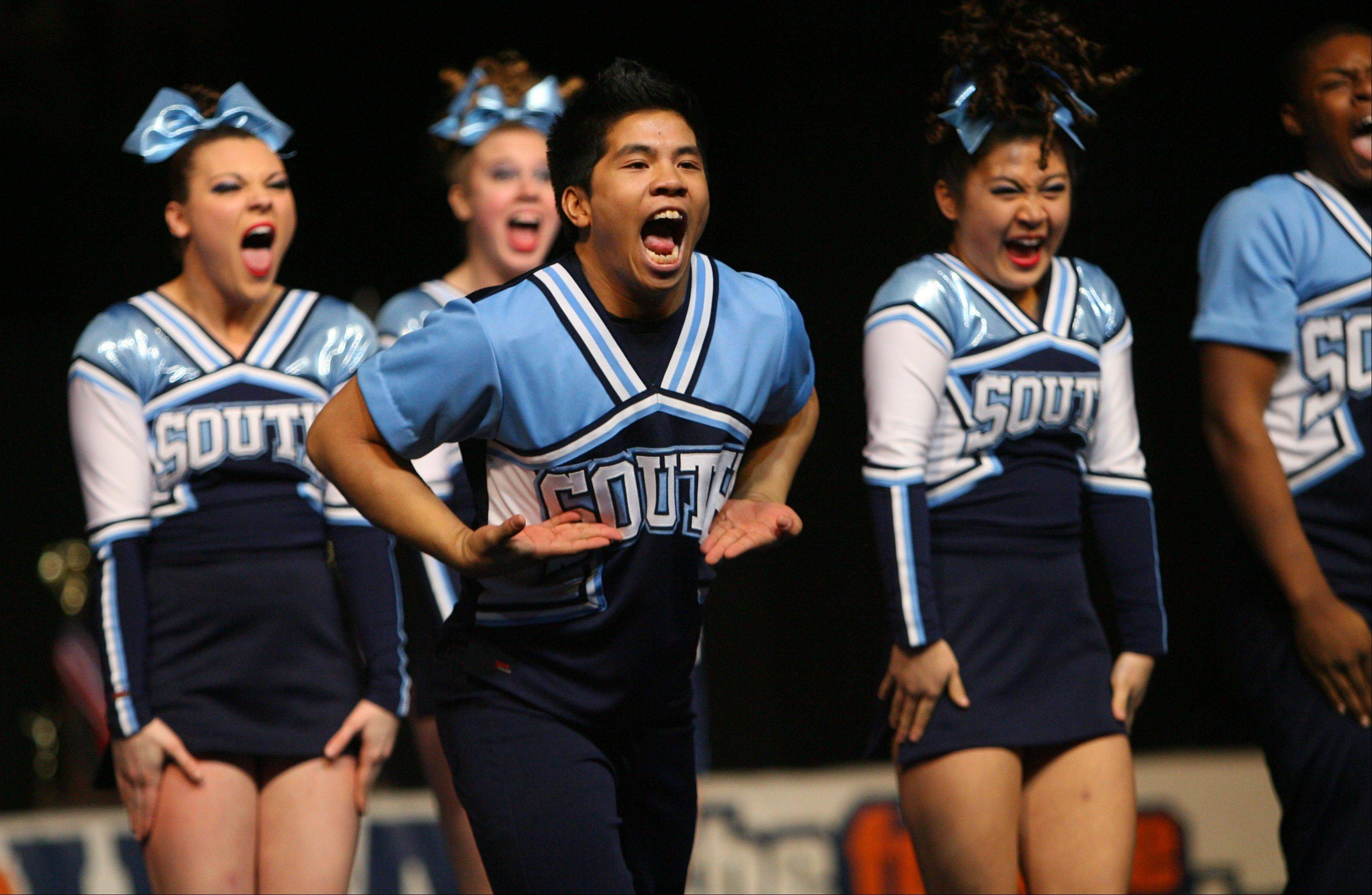 Downers Grove South High School participates in the IHSA Competitive Cheerleading finals on Saturday, Feb. 2 at the U.S. Cellular Coliseum in Bloomington.
