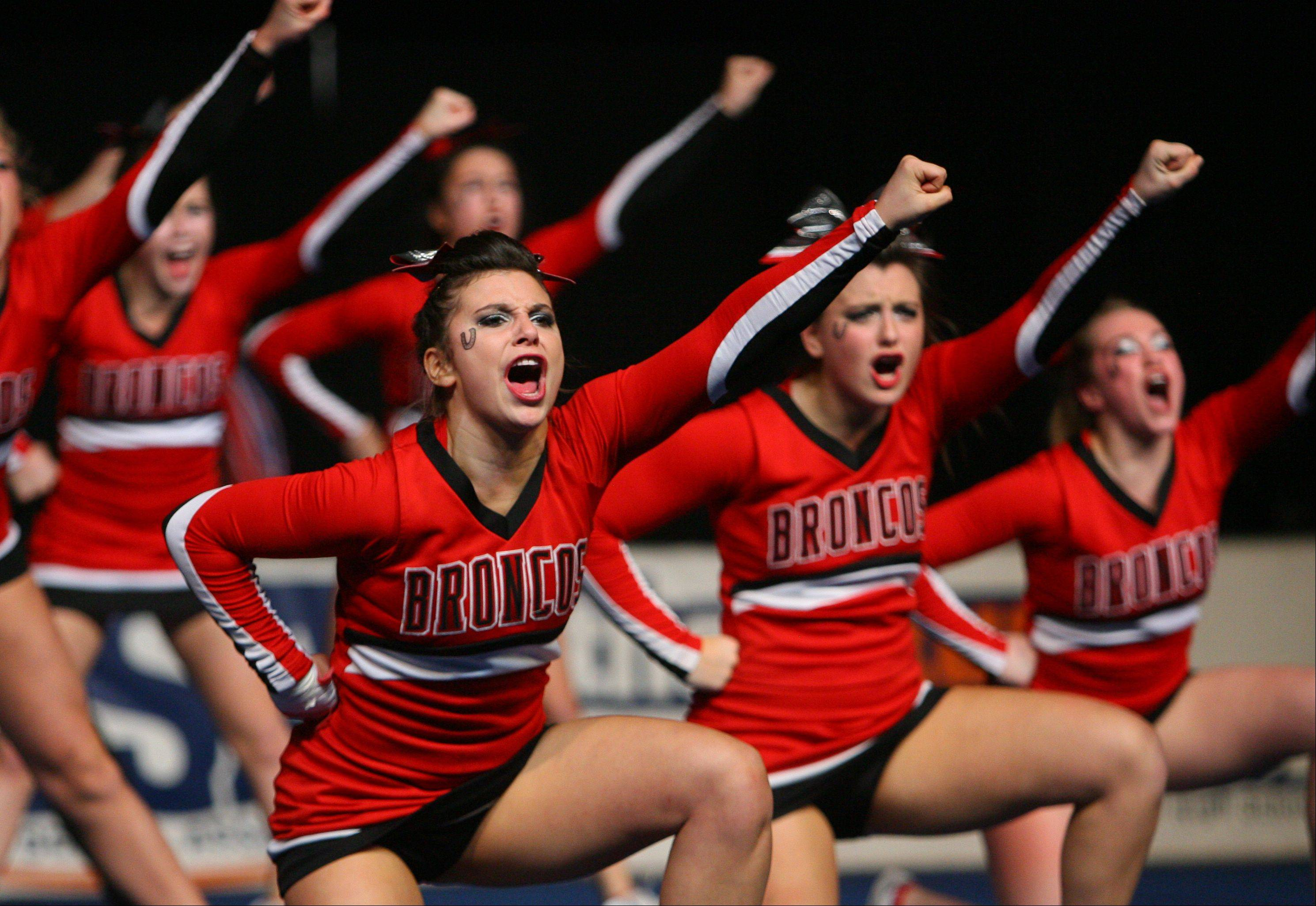 Barrington High School waits for the results in the IHSA Competitive Cheerleading finals on Saturday, Feb. 2 at the U.S. Cellular Coliseum in Bloomington.
