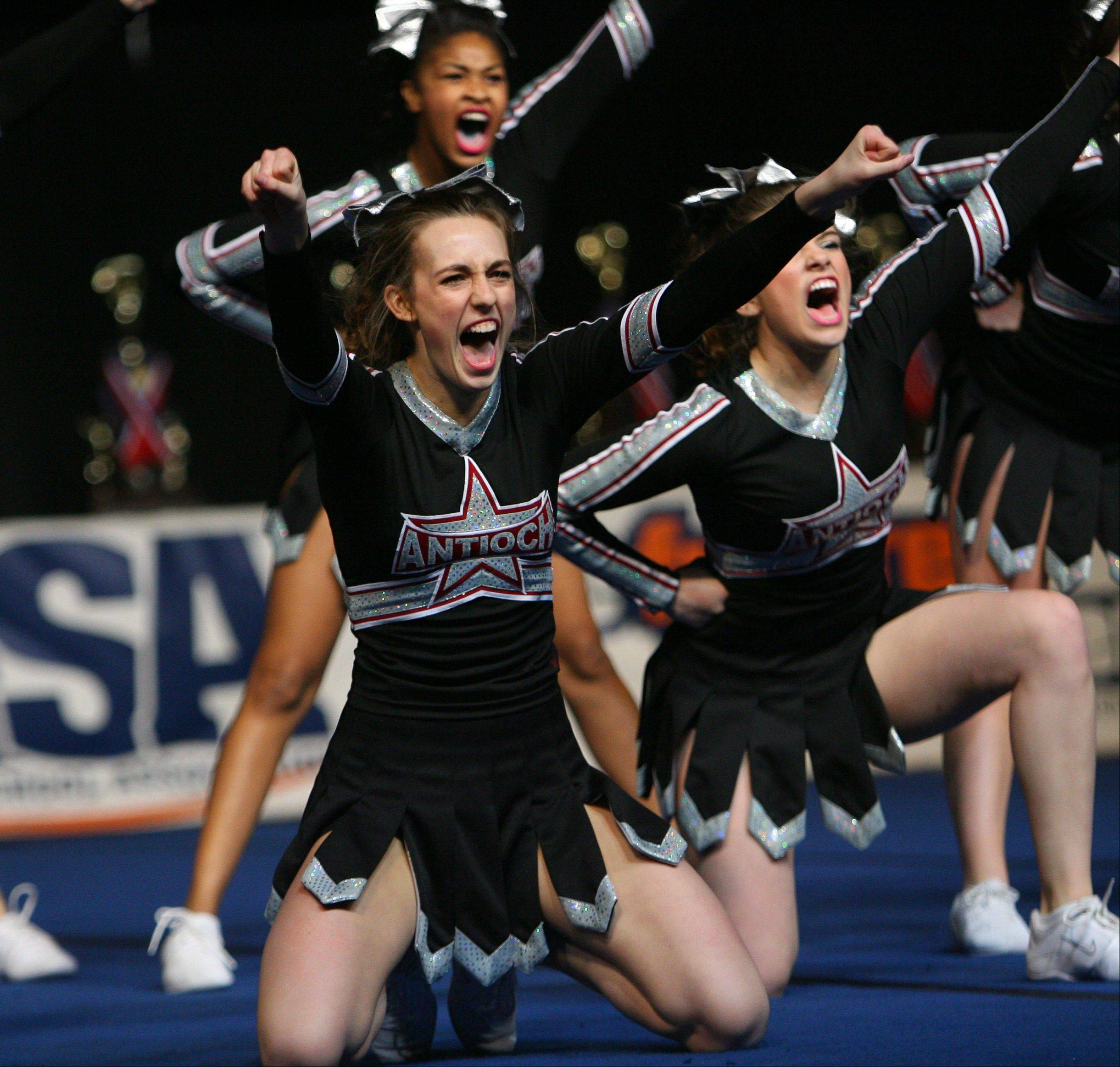 Antioch High School participates in the IHSA Competitive Cheerleading finals on Saturday, Feb. 2 at the U.S. Cellular Coliseum in Bloomington.