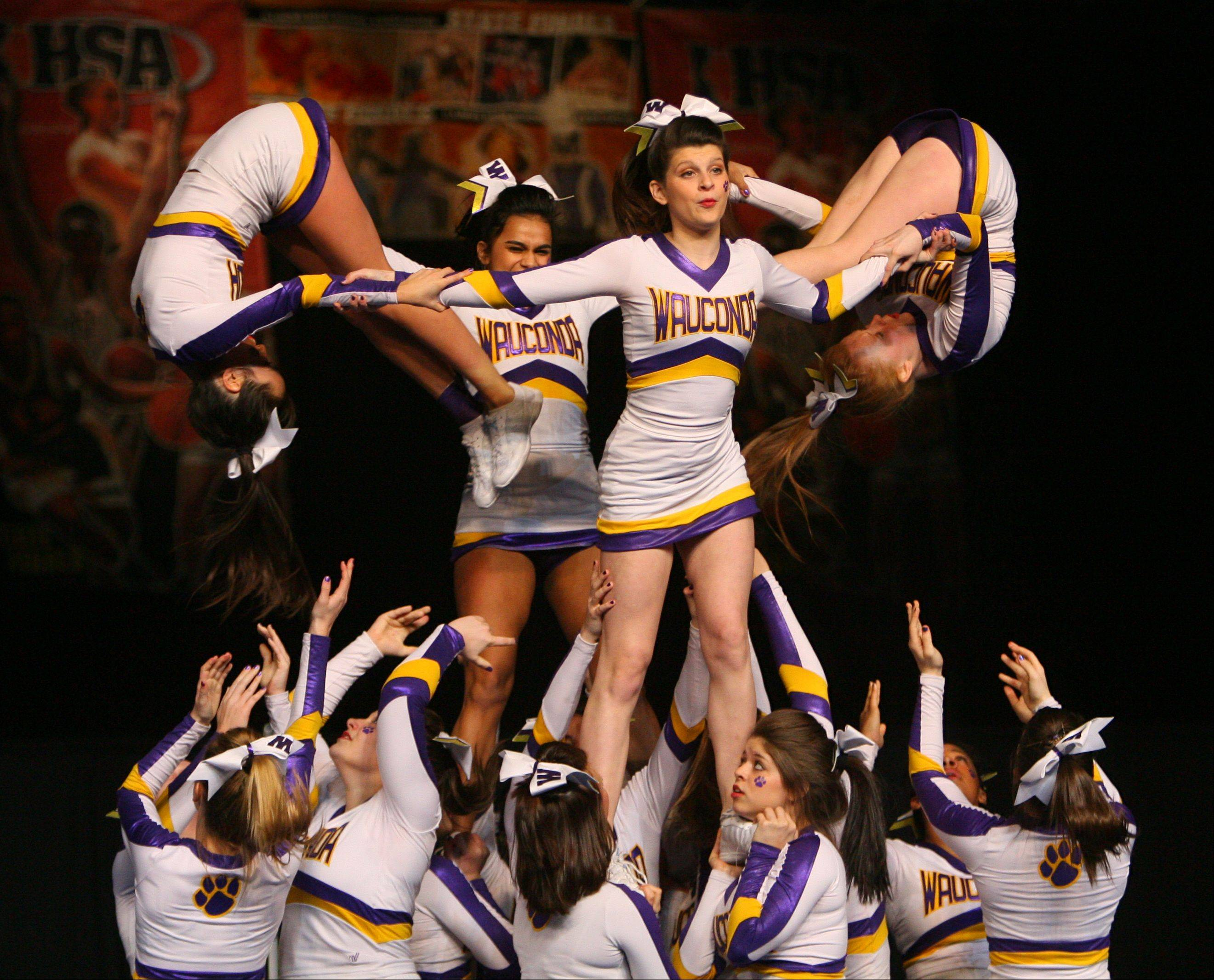 Wauconda High School participates in the IHSA Competitive Cheerleading finals on Saturday, Feb. 2 at the U.S. Cellular Coliseum in Bloomington.