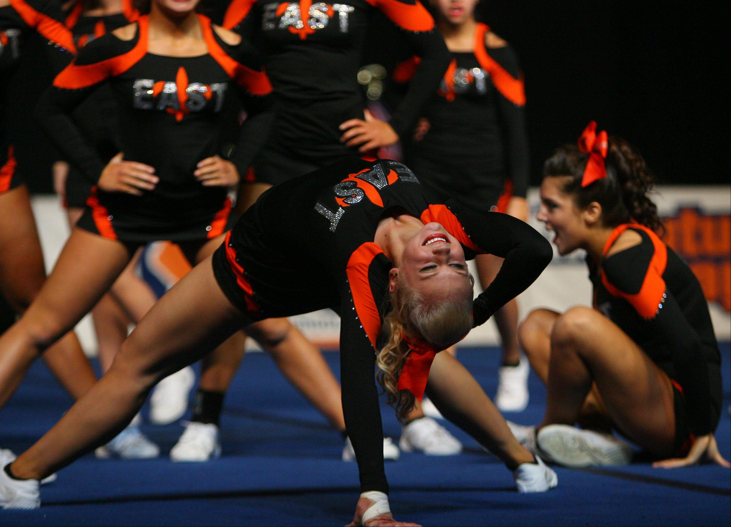 St. Charles East High School waits for the results in the IHSA Competitive Cheerleading finals on Saturday, Feb. 2 at the U.S. Cellular Coliseum in Bloomington.