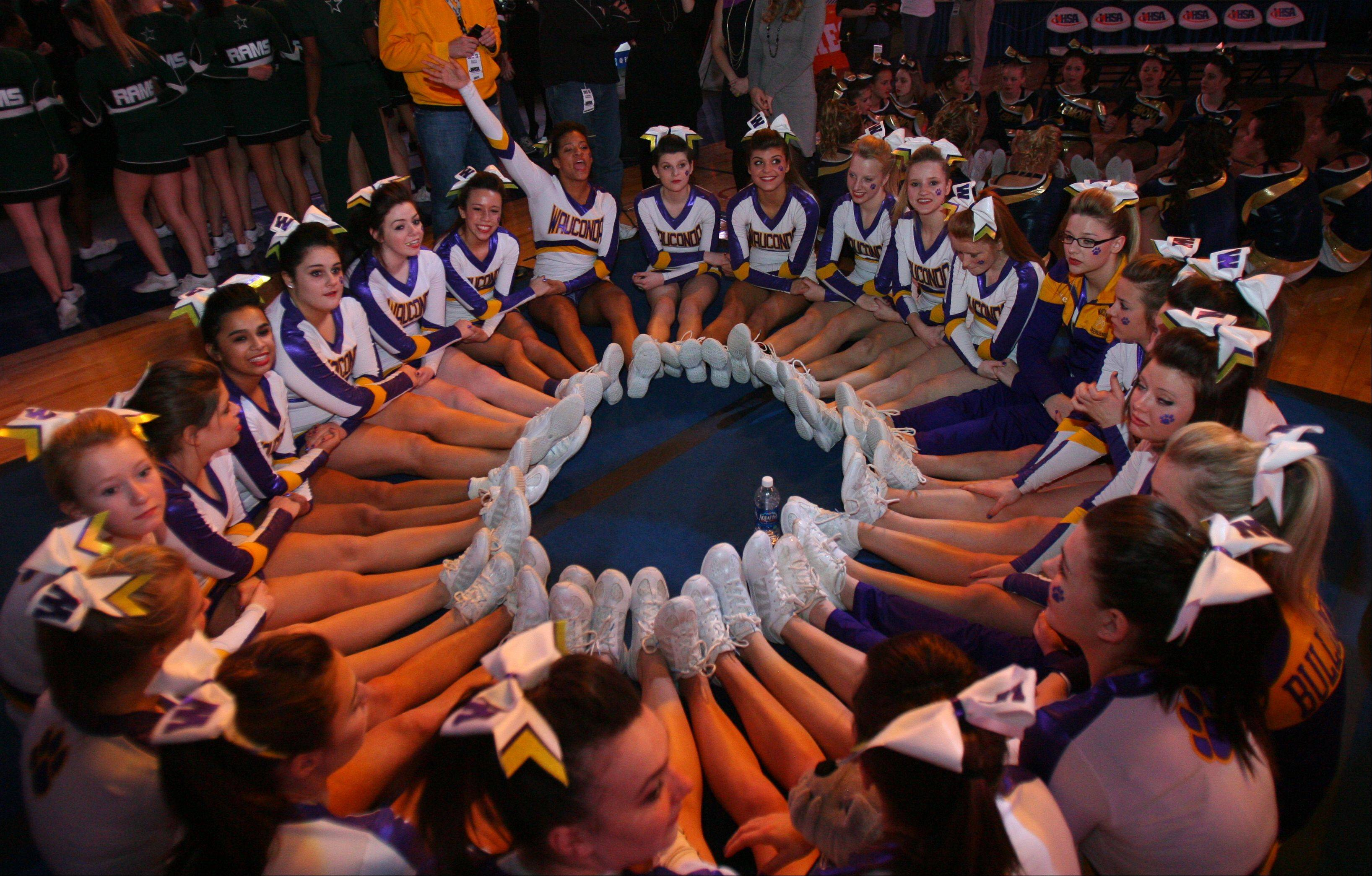 Wauconda High School waits for the results in the IHSA Competitive Cheerleading finals on Saturday, Feb. 2 at the U.S. Cellular Coliseum in Bloomington.