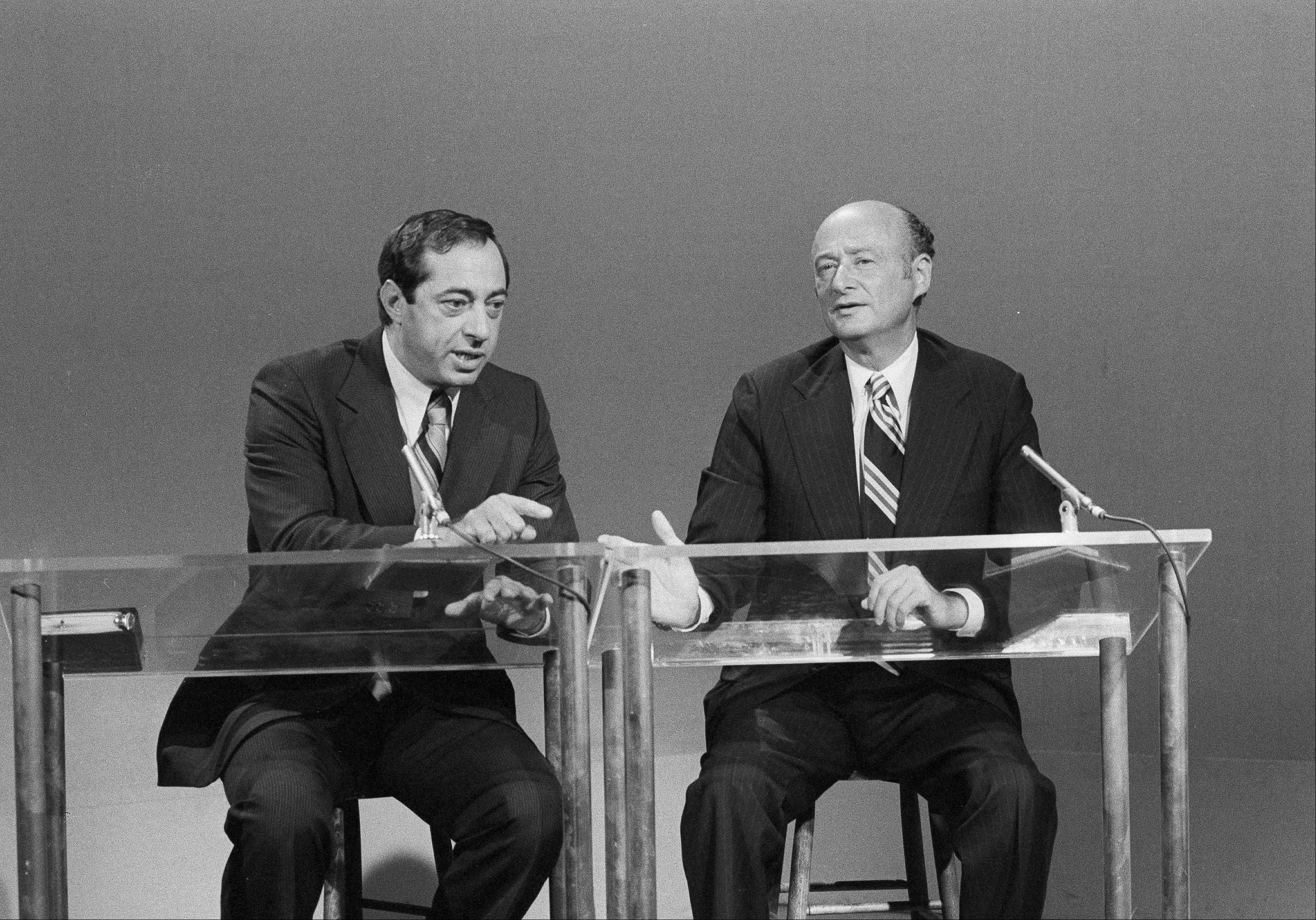 "Democratic Mayoral runoff candidates Mario Cuomo, left, and Edward Koch talk to reporters in New York during the taping of their debate for NBC-TV's ""Positively Black"" show."