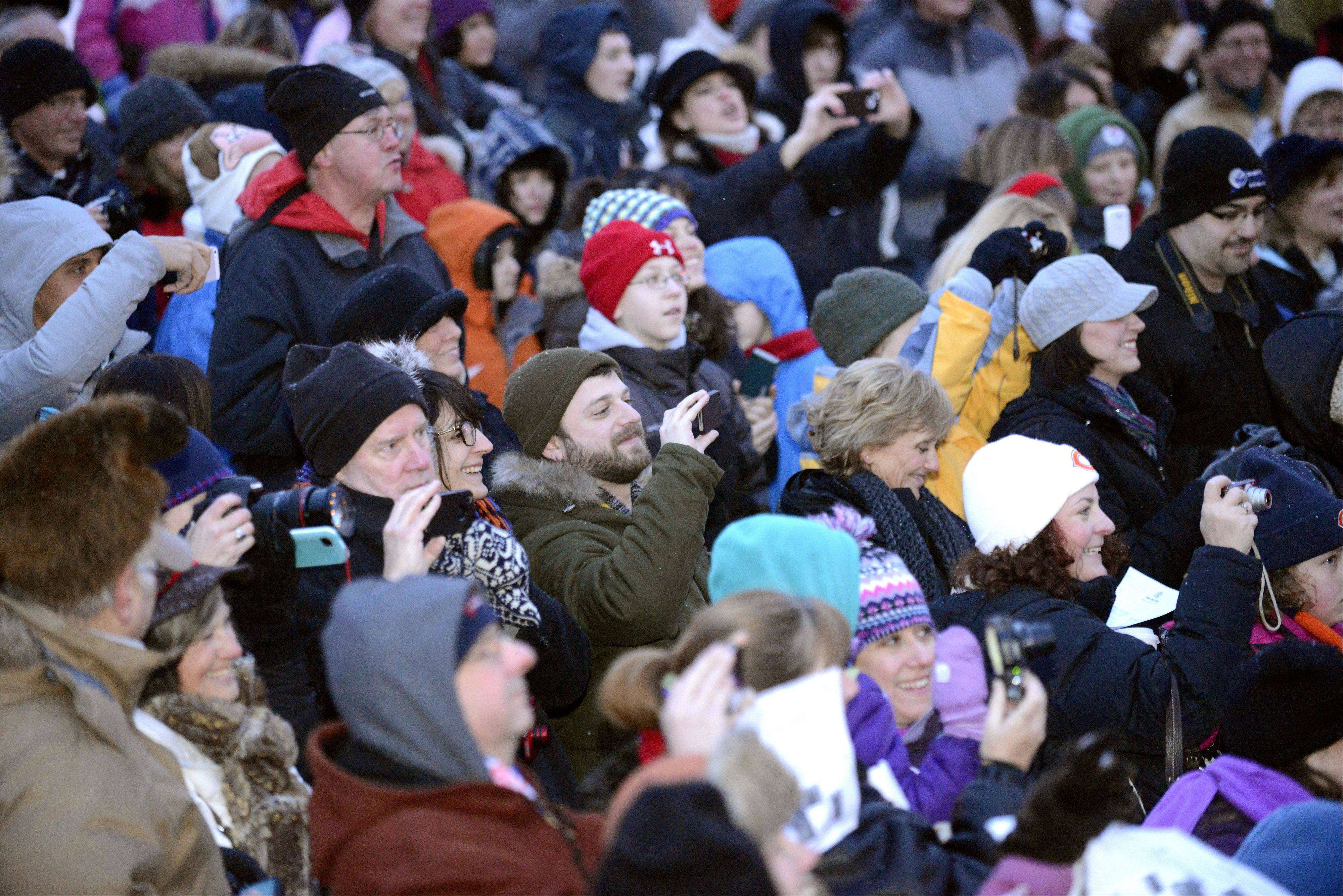 The crowd photographs and videotapes Woodstock Willie's appearance at the annual Groundhog Day event Saturday in Woodstock Square.
