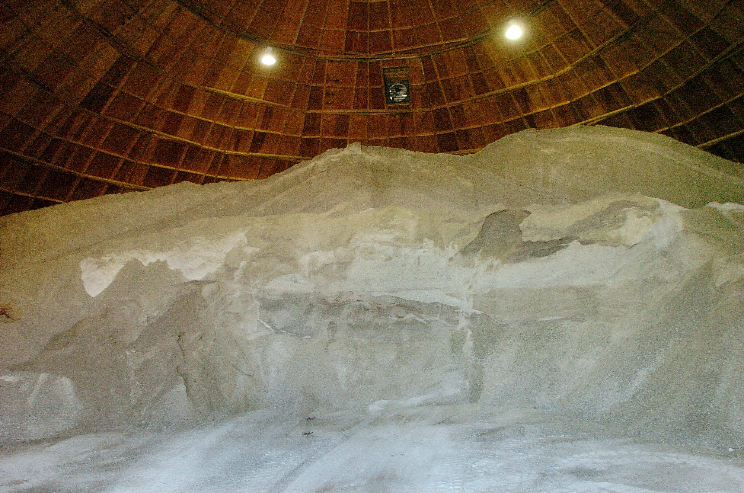 The salt pile at the Arlington Heights Public Works facility on Ridge Avenue.